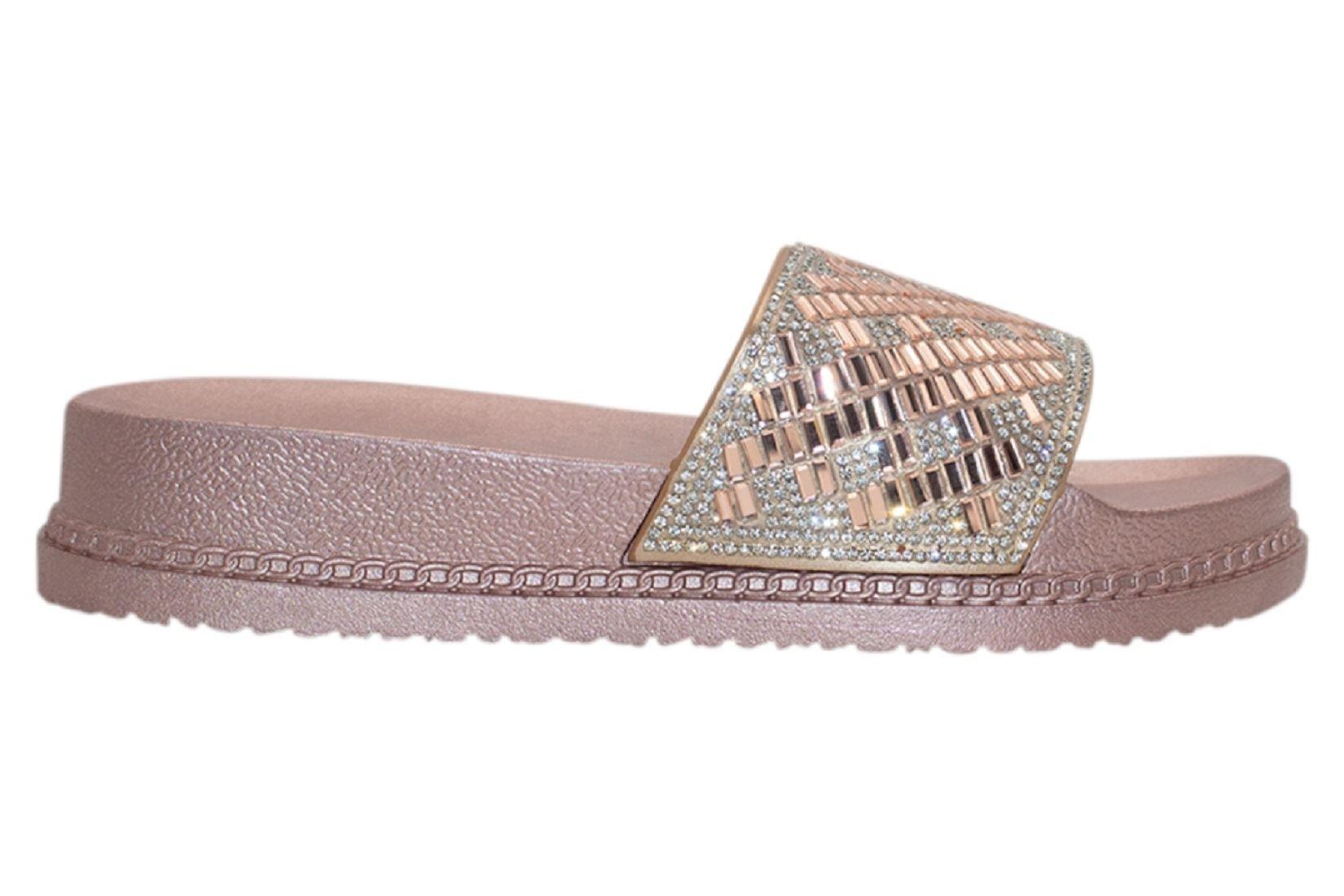 Womens-Sliders-Casual-Slippers-Mules-Ladies-Diamante-Flip-Flop-Sandals-Shoes thumbnail 36