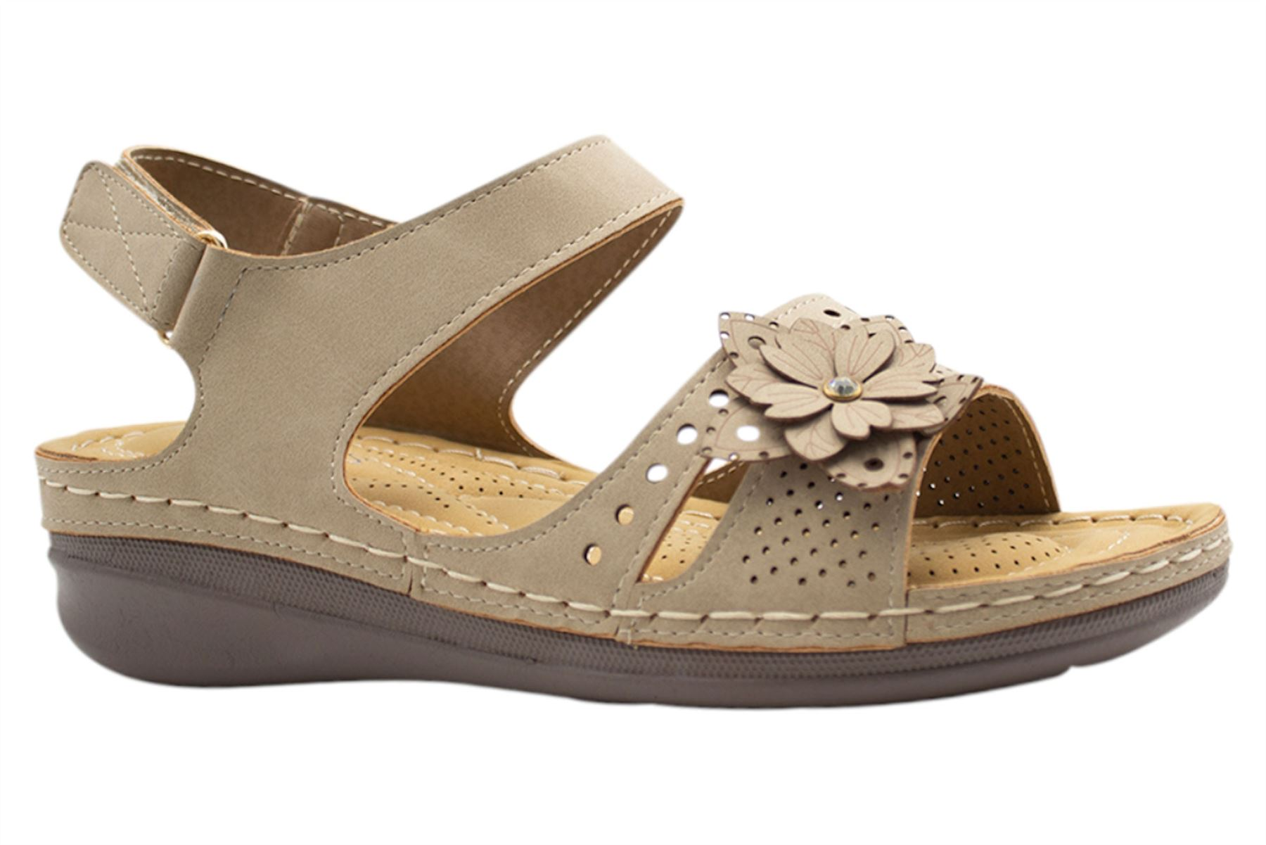 Ladies-Wedge-Heel-Sandal-Womens-Comfort-Cushion-Strapy-Summer-Shoes miniatura 4