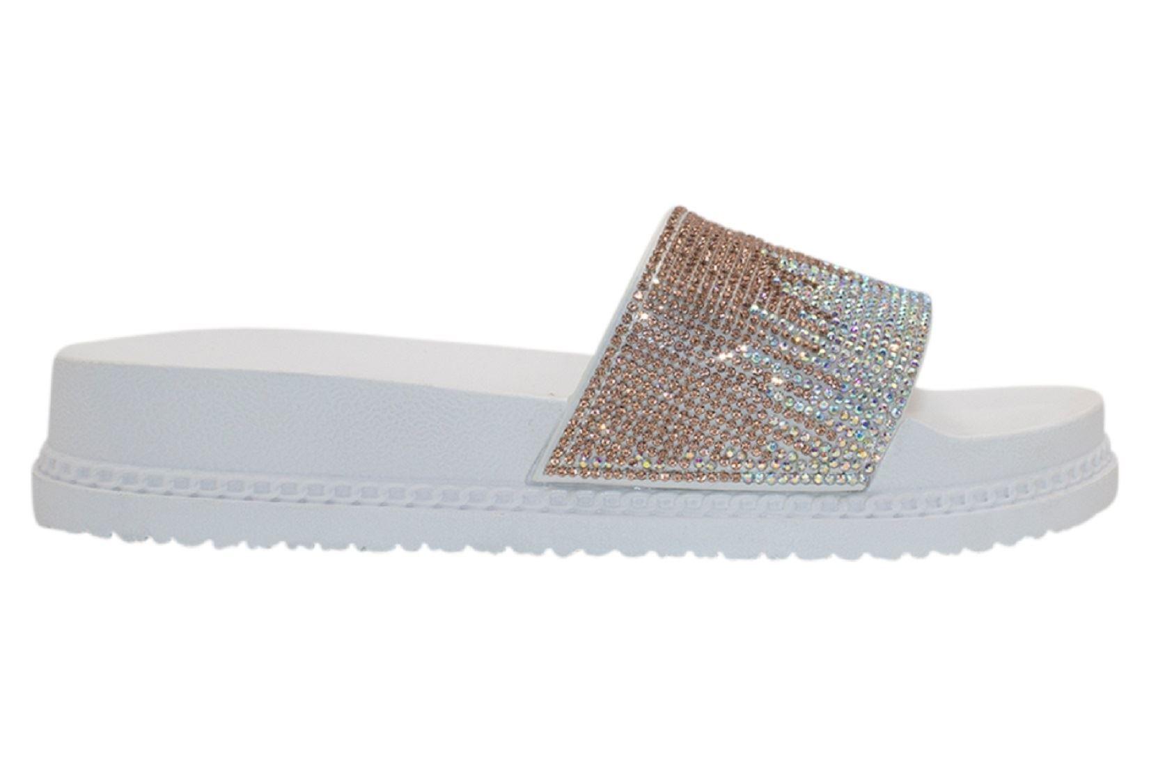 Womens-Sliders-Casual-Slippers-Mules-Ladies-Diamante-Flip-Flop-Sandals-Shoes thumbnail 97