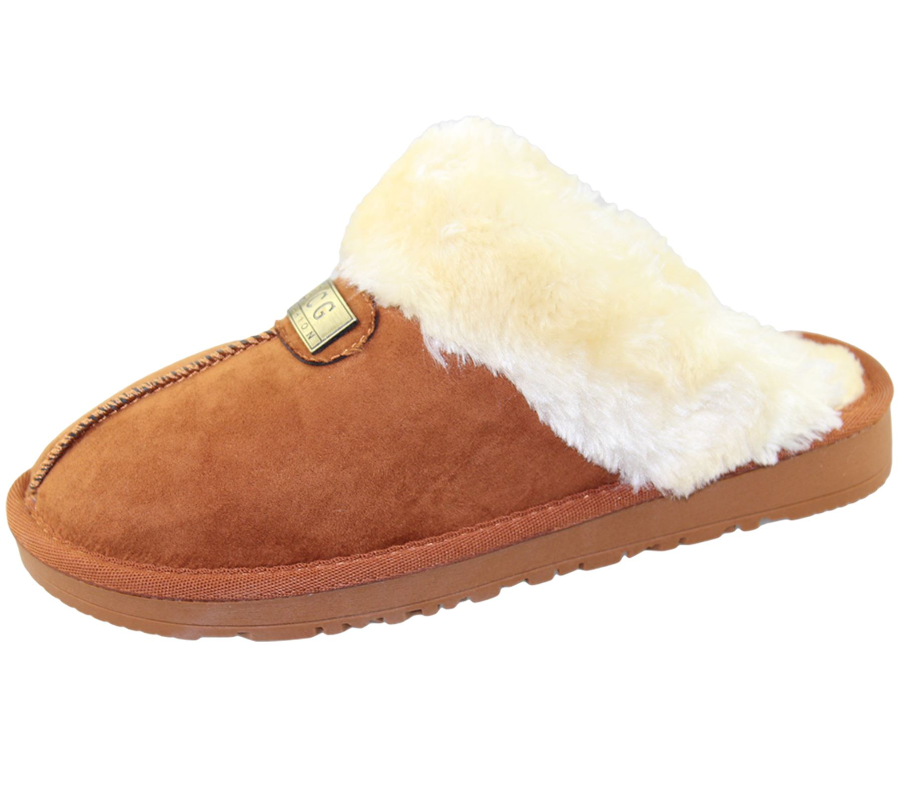 Womens-Fur-Lined-Slippers-Ladies-Mules-Non-Slip-Rubber-Sole-Shoes miniatura 22