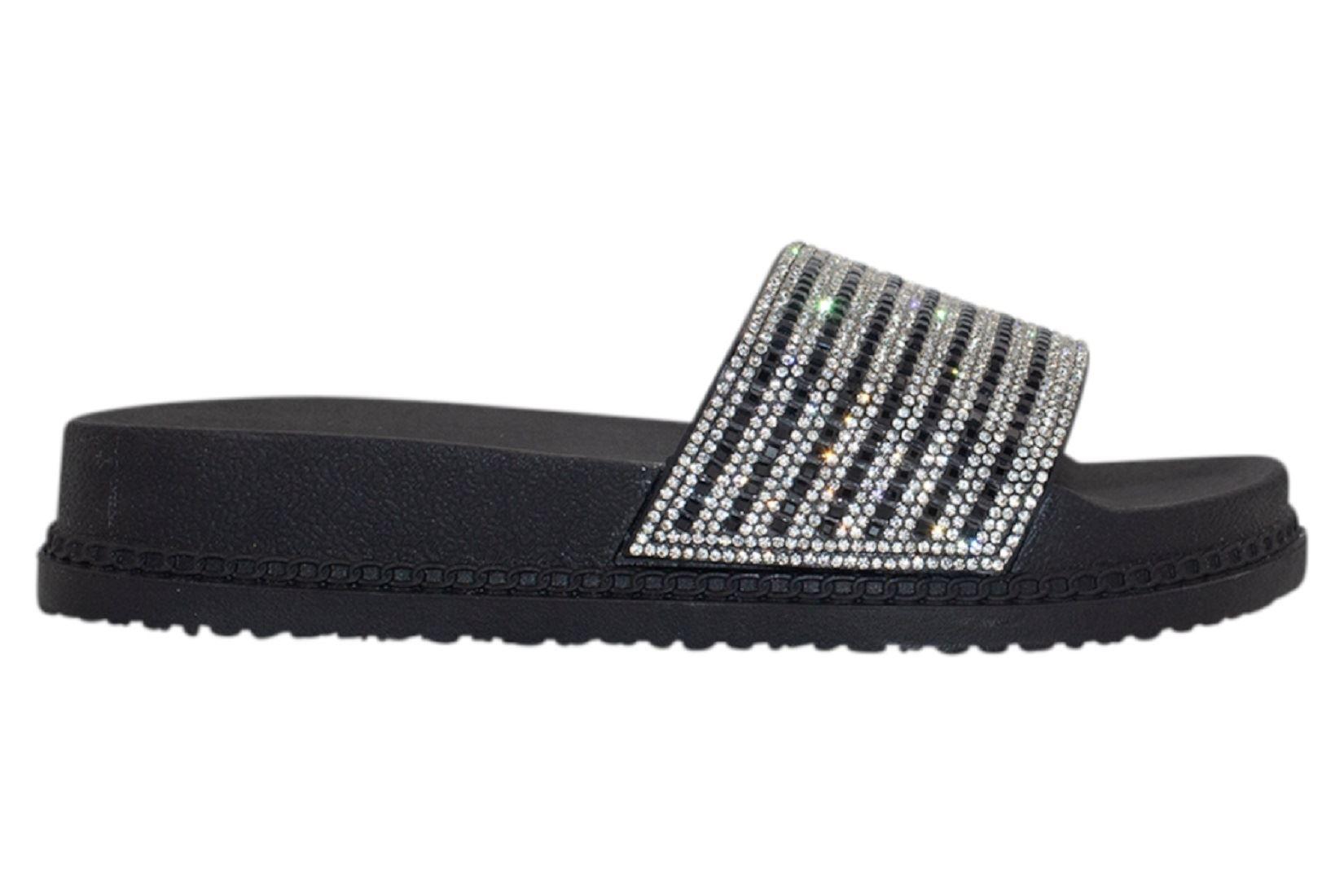 Womens-Sliders-Casual-Slippers-Mules-Ladies-Diamante-Flip-Flop-Sandals-Shoes thumbnail 9