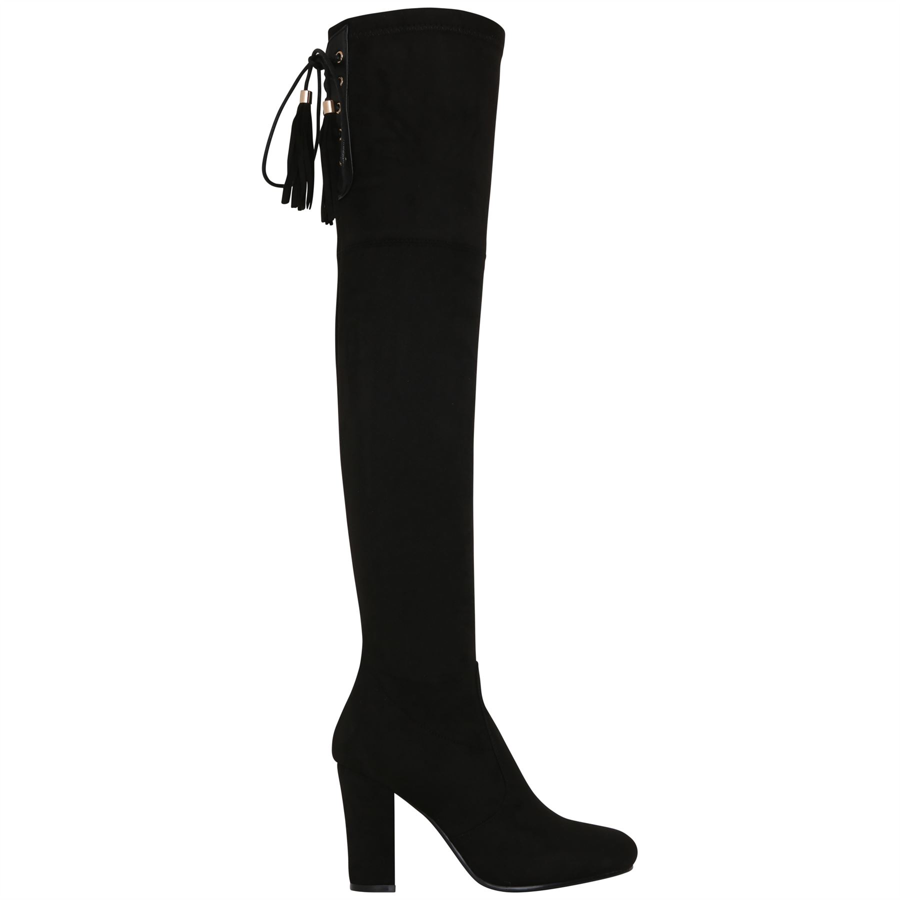 Womens-Over-Knee-High-Boots-Ladies-Low-Block-Heel-Riding-Stretch-Winter-Shoes miniatura 5