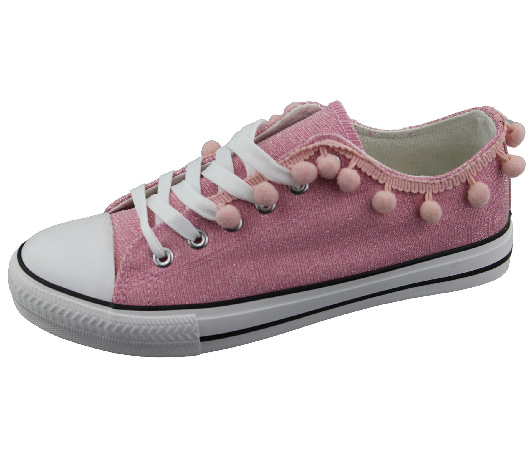 Womens-Sneakers-Flat-Pumps-Ladies-Glittered-Summer-Plimsole-Canvas-Shoes thumbnail 36
