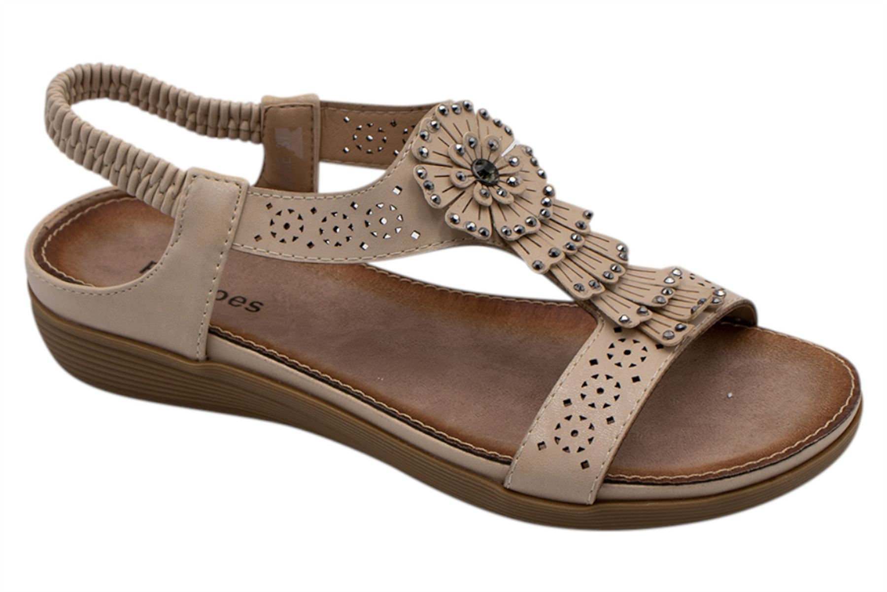 Ladies-Sandals-Womens-Shiny-Flat-Flip-Flop-Beach-Sliders miniatura 10
