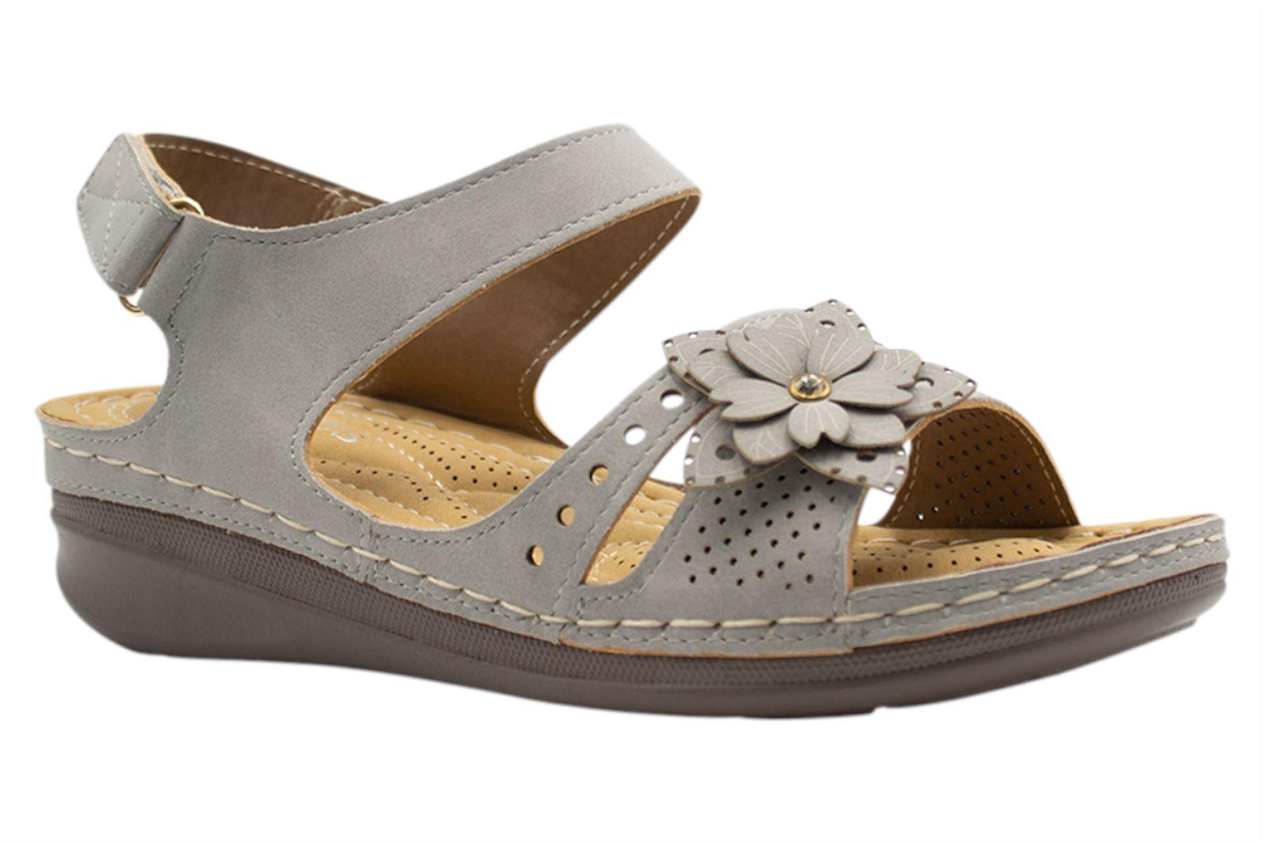 Ladies-Wedge-Heel-Sandal-Womens-Comfort-Cushion-Strapy-Summer-Shoes miniatura 29