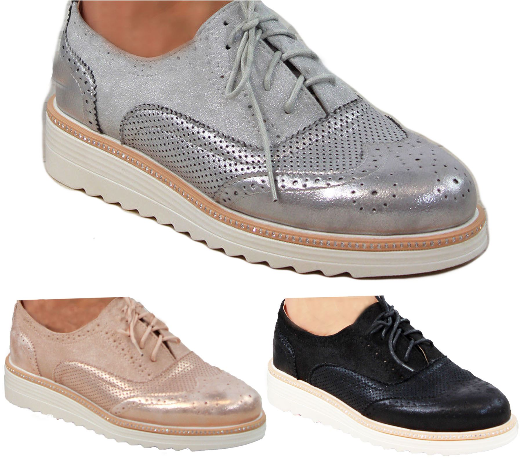Ladies Brogue Lace Up Shoes Womens