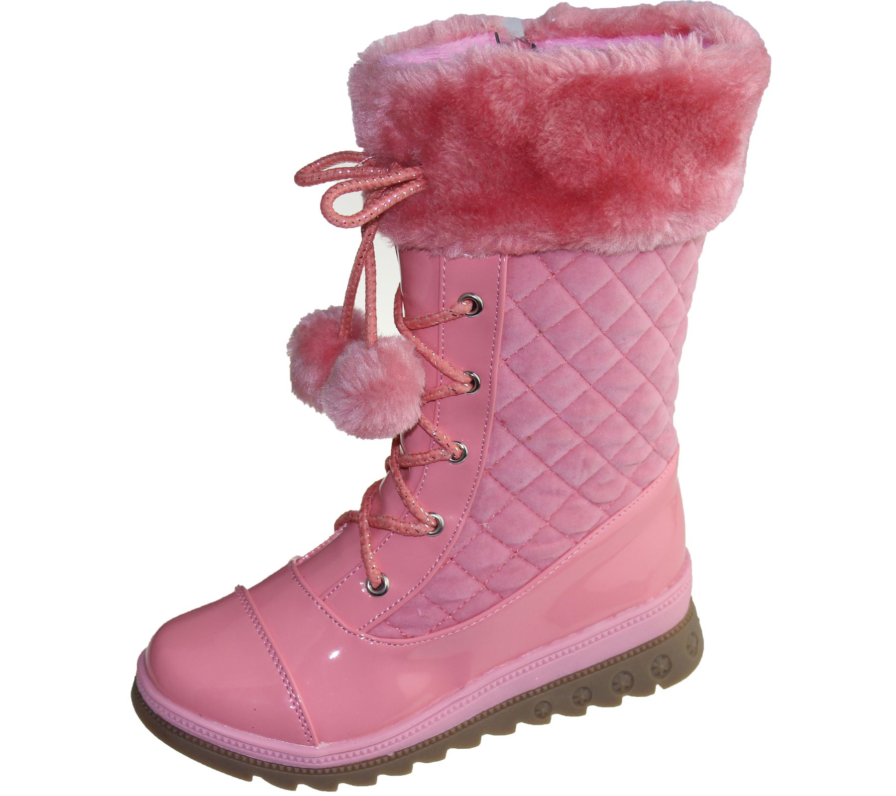 Girls Warm Linned Boots Pom Pom Winter Christmas High Top Quilted Ankle Shoes