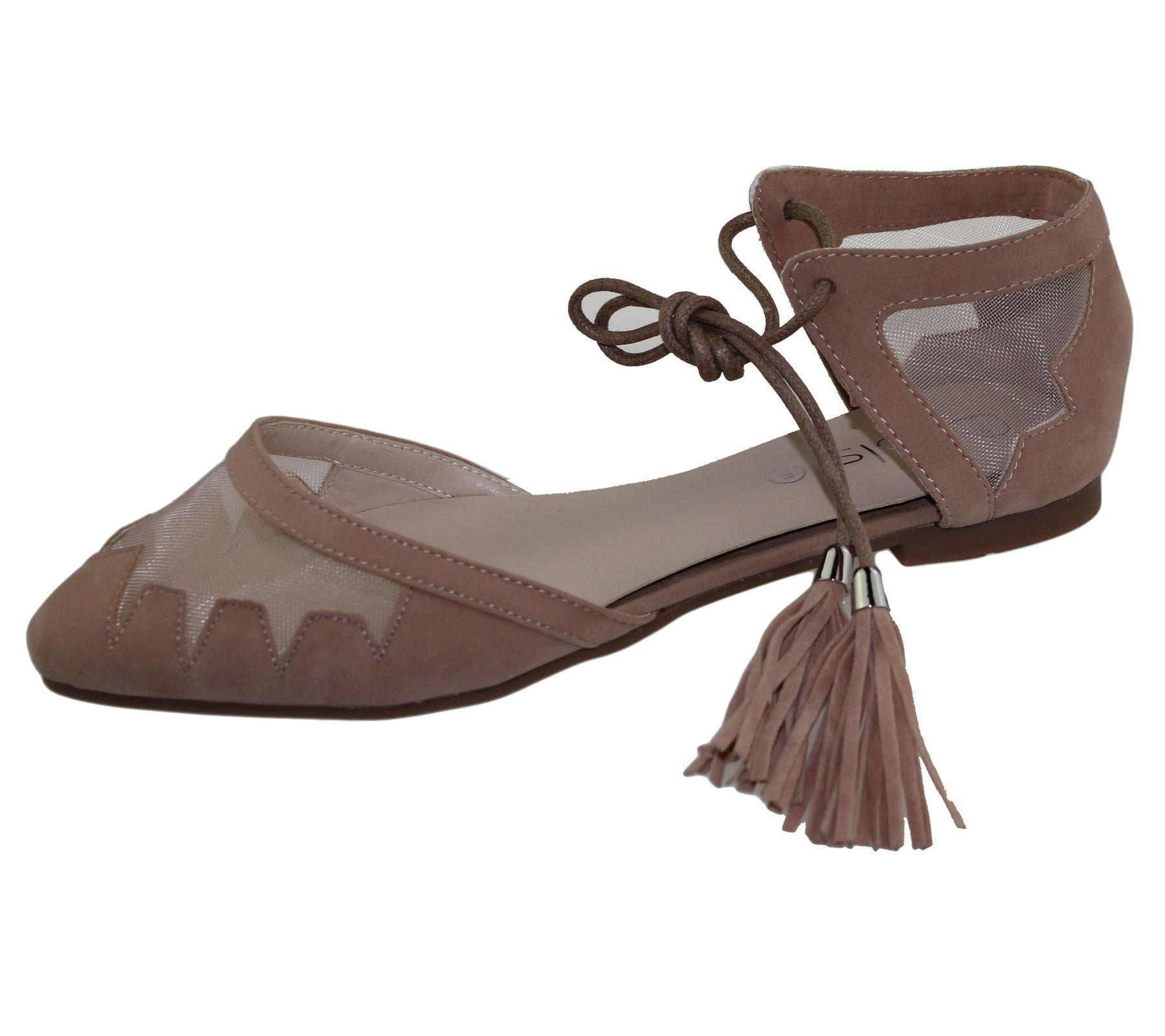 Womens-Flat-Ballerina-Dolly-Pumps-Ballet-Ladies-Summer-Mesh-Tassel-Shoes-Sandals thumbnail 23