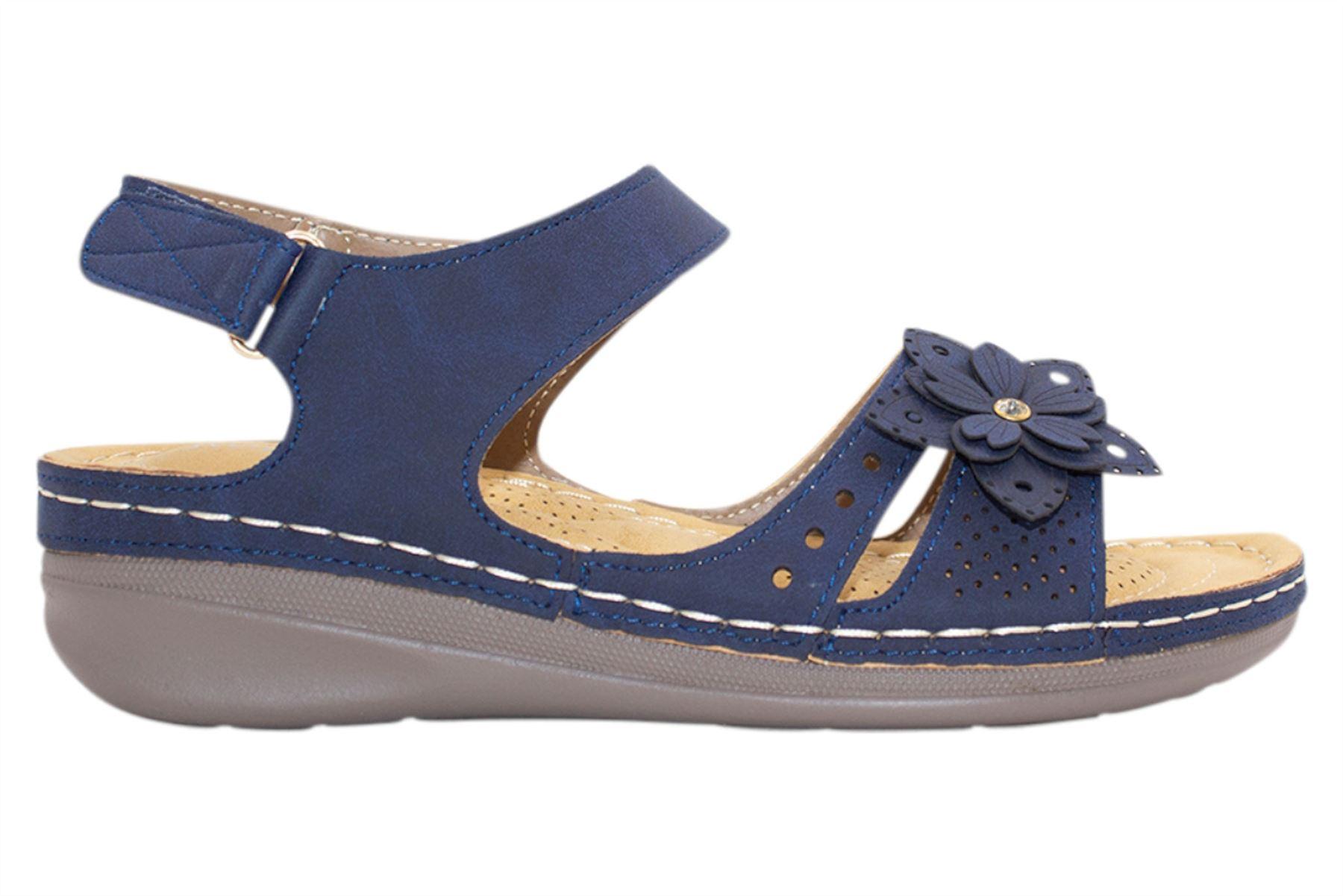 Ladies-Wedge-Heel-Sandal-Womens-Comfort-Cushion-Strapy-Summer-Shoes miniatura 32