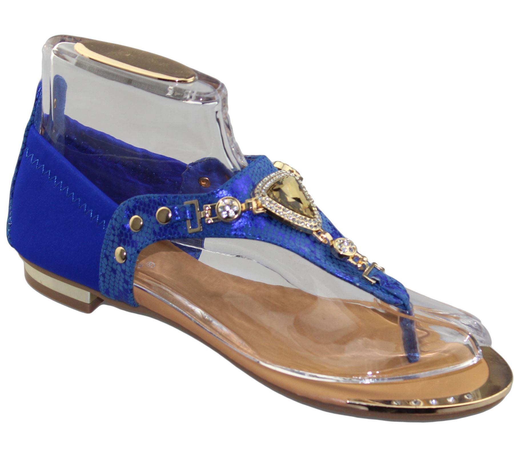 Womens-Flat-Summer-Sandals-Ladies-Diamante-Wedding-Toe-Post-Casual-Slipper thumbnail 25