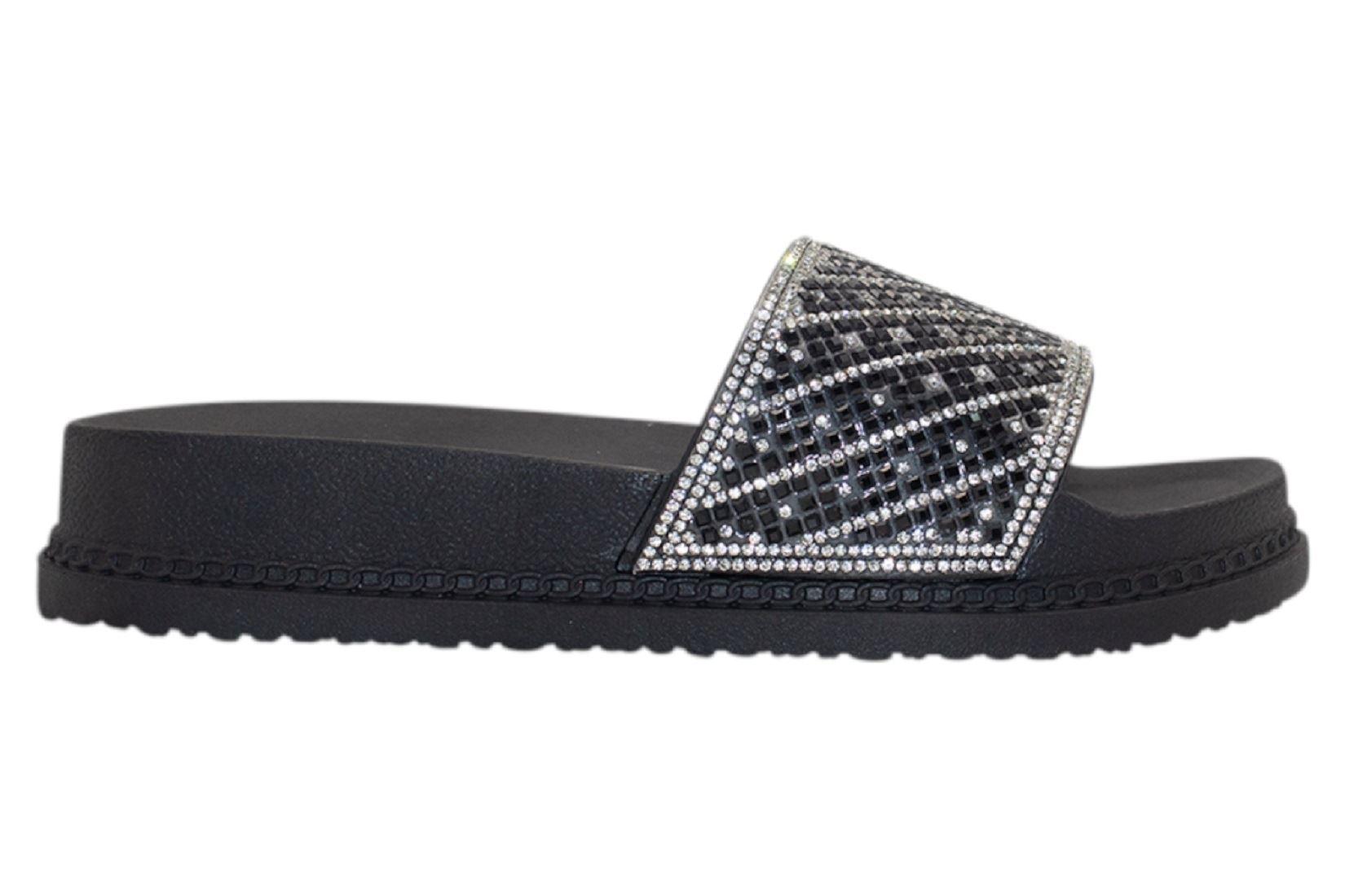 Womens-Sliders-Casual-Slippers-Mules-Ladies-Diamante-Flip-Flop-Sandals-Shoes thumbnail 3