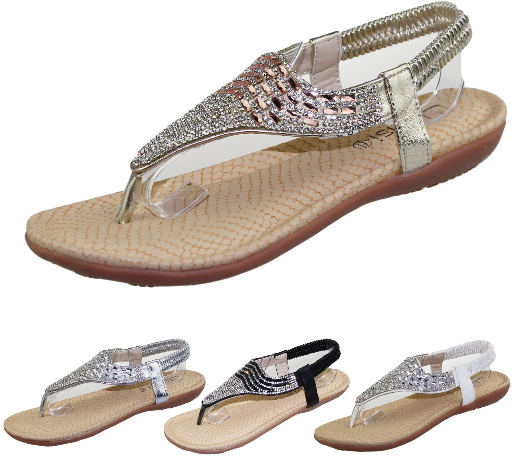 ac2ee1f20 Womens Flat Sandals Ladies Diamante Toe Post Summer Wedding Soft Sole Shoes