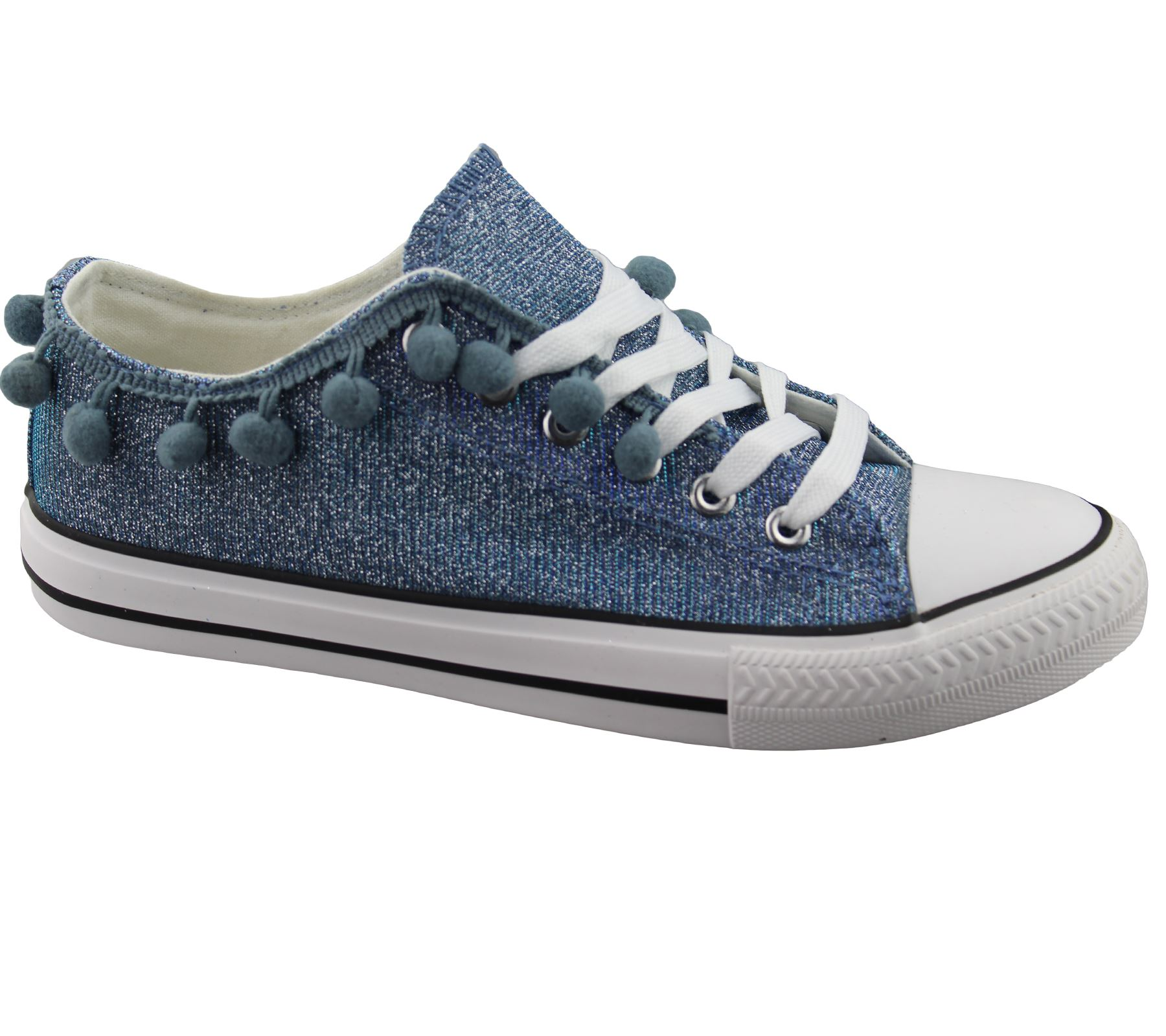 Womens-Sneakers-Flat-Pumps-Ladies-Glittered-Summer-Plimsole-Canvas-Shoes thumbnail 23