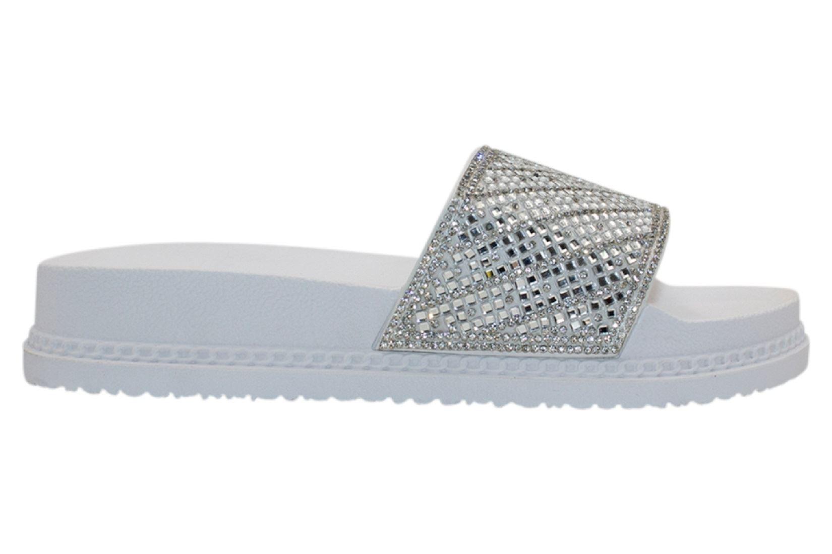 Womens-Sliders-Casual-Slippers-Mules-Ladies-Diamante-Flip-Flop-Sandals-Shoes thumbnail 77