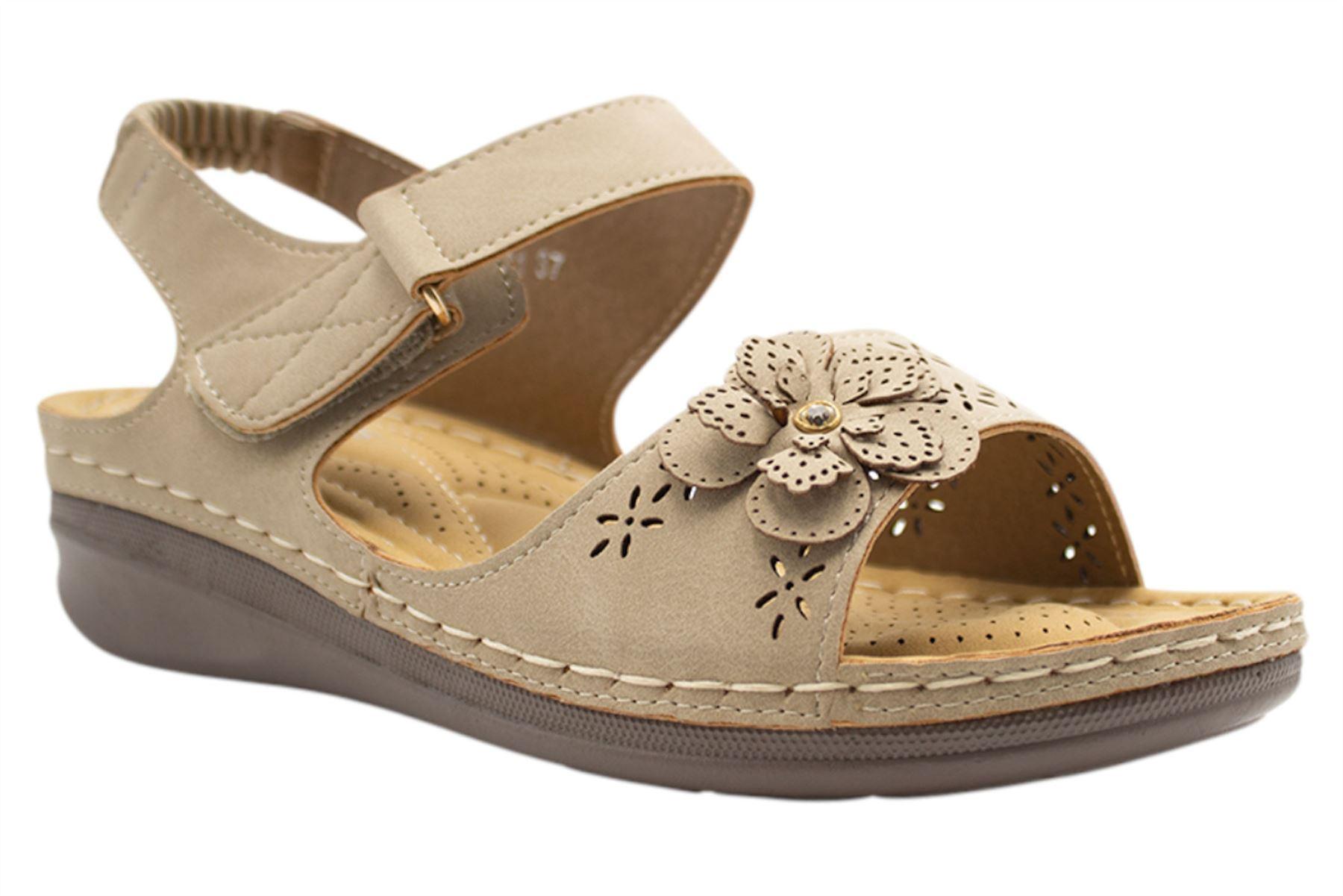 Ladies-Sandals-Womens-Mid-Heel-Comfort-Summer-Beach-Casual-Wear miniatura 3