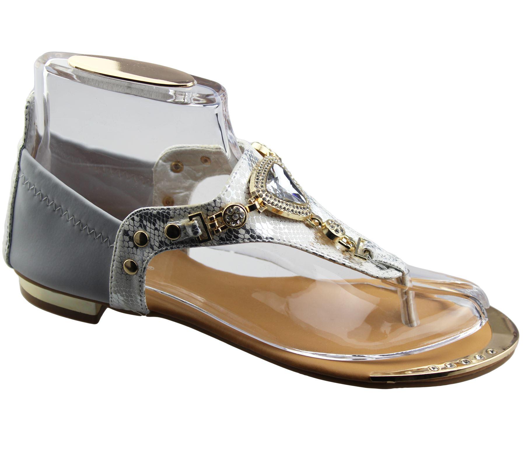 Womens-Flat-Summer-Sandals-Ladies-Diamante-Wedding-Toe-Post-Casual-Slipper thumbnail 9