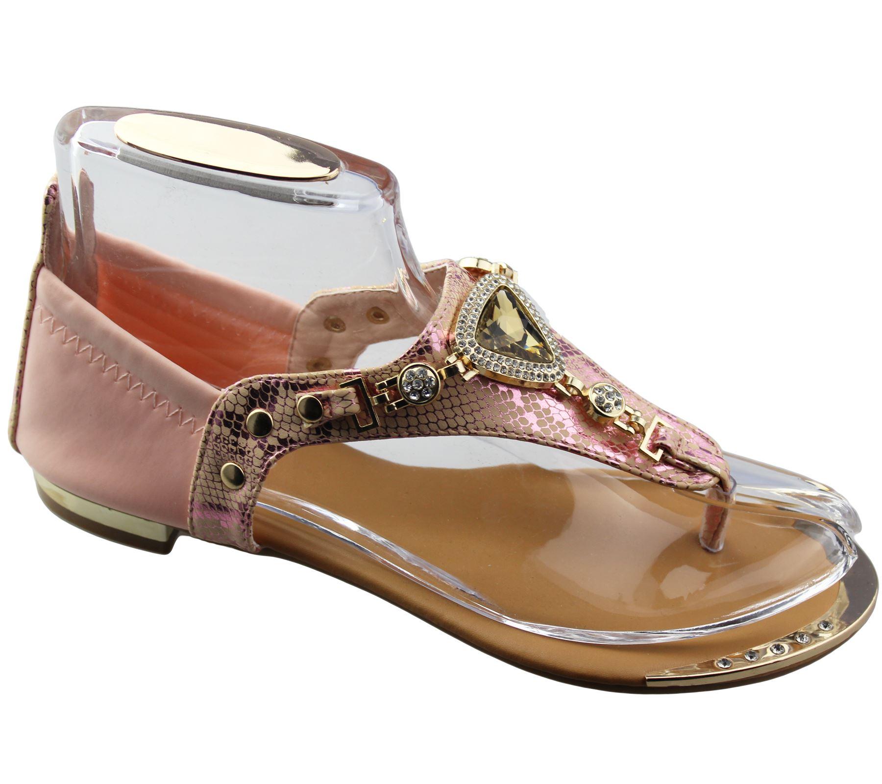 Womens-Flat-Summer-Sandals-Ladies-Diamante-Wedding-Toe-Post-Casual-Slipper thumbnail 30