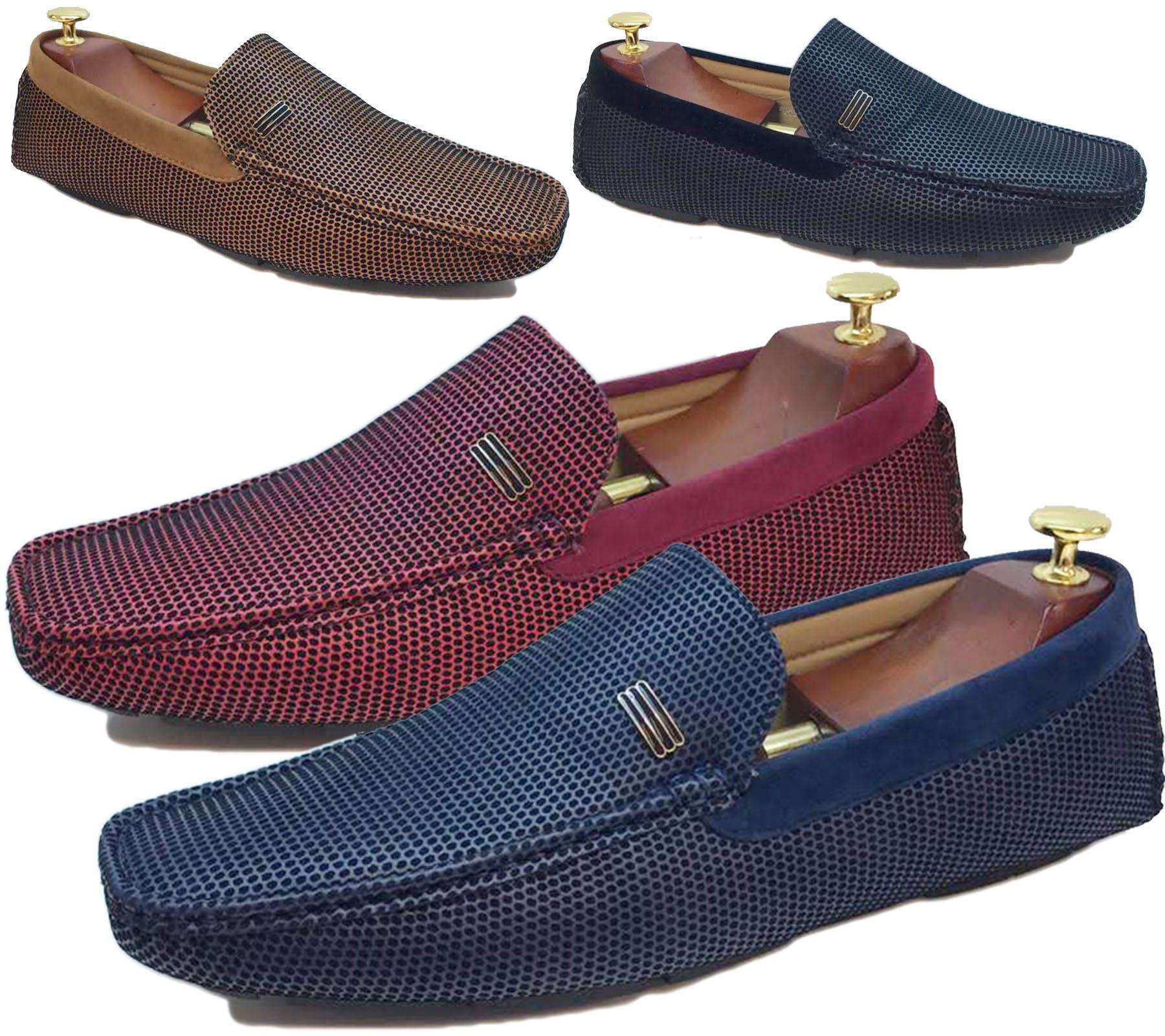 Hommes Casual En Cuir Et Daim à Enfiler Mocassins De Conduite Mocassins Plats Chaussures Bateau