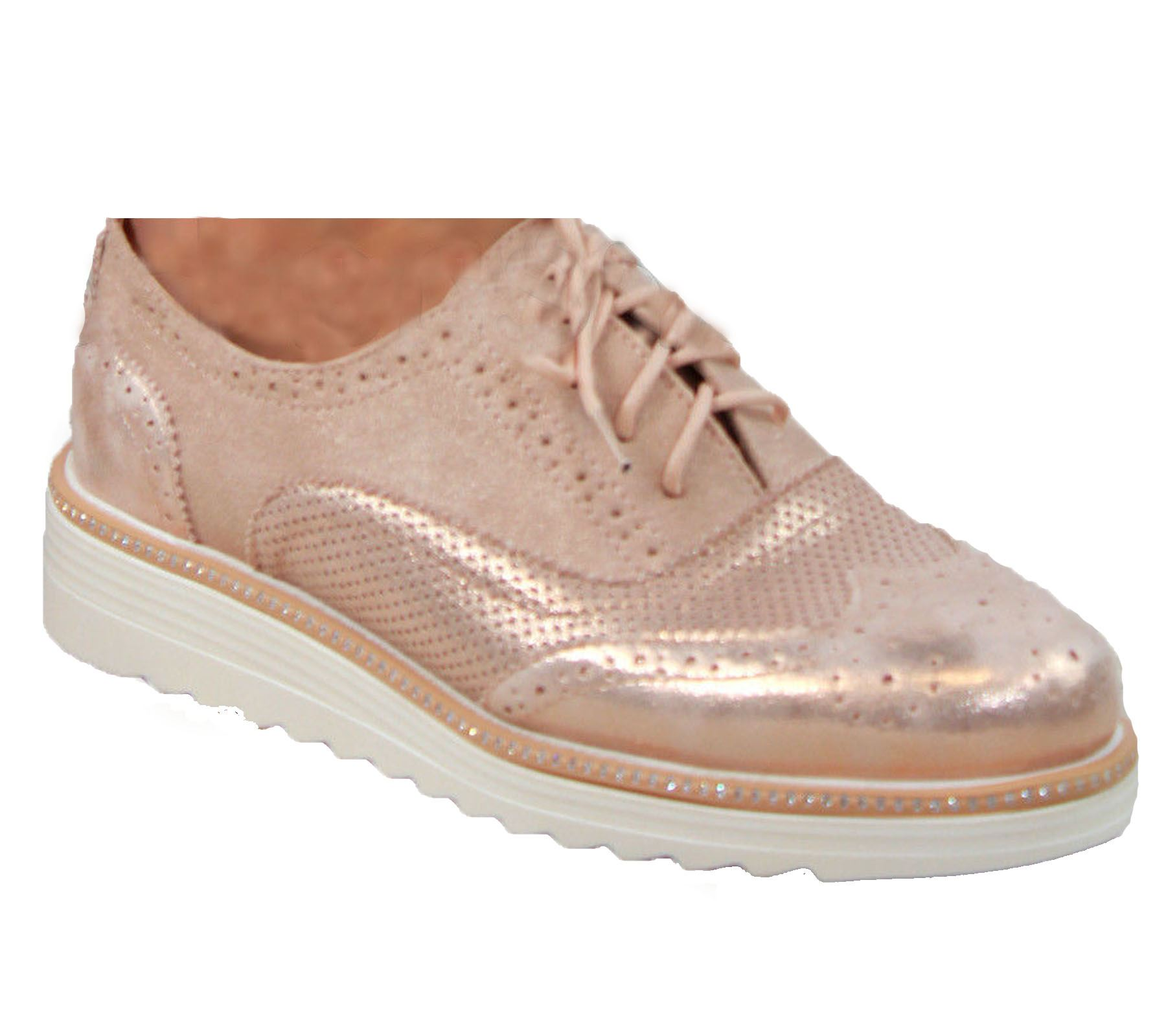Ladies-Brogue-Lace-Up-Shoes-Womens-Oxford-Smart-Office-Loafers-Shoes miniatura 33
