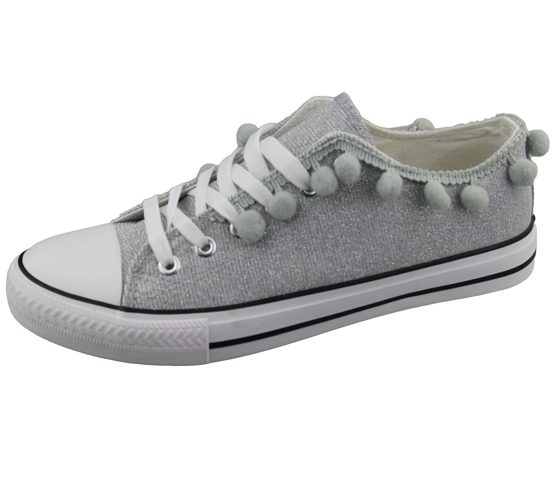 Womens-Sneakers-Flat-Pumps-Ladies-Glittered-Summer-Plimsole-Canvas-Shoes thumbnail 12