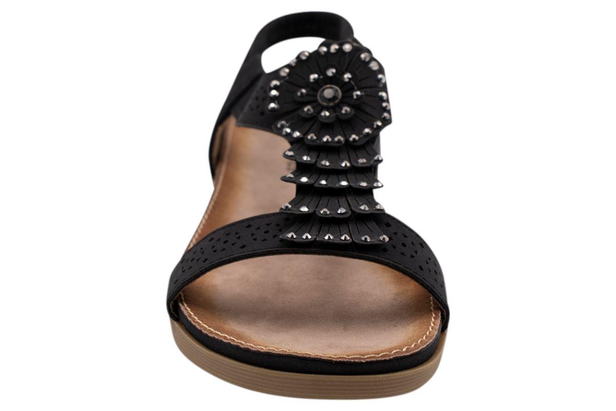 Ladies-Sandals-Womens-Shiny-Flat-Flip-Flop-Beach-Sliders miniatura 6