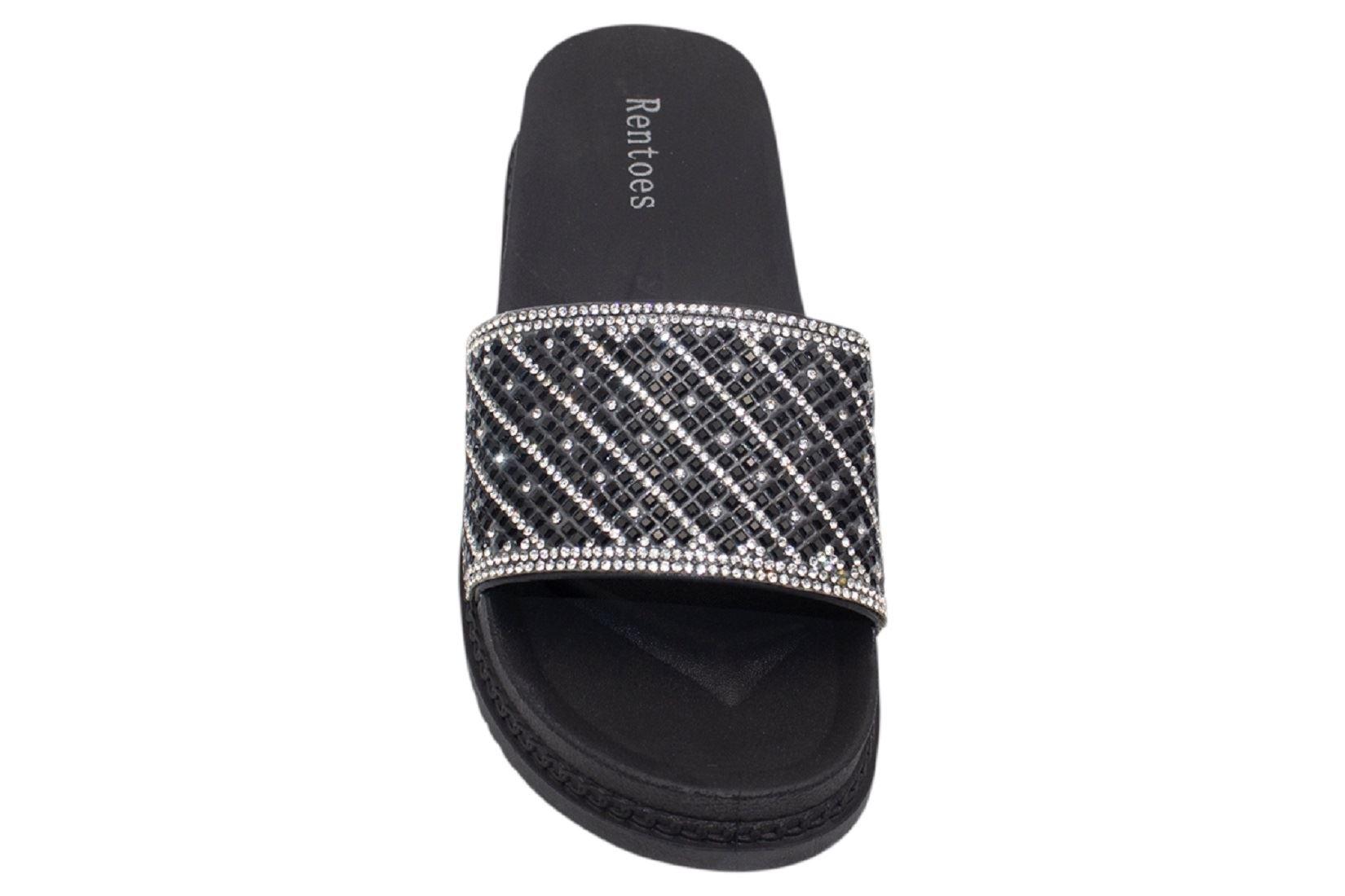 Womens-Sliders-Casual-Slippers-Mules-Ladies-Diamante-Flip-Flop-Sandals-Shoes thumbnail 22