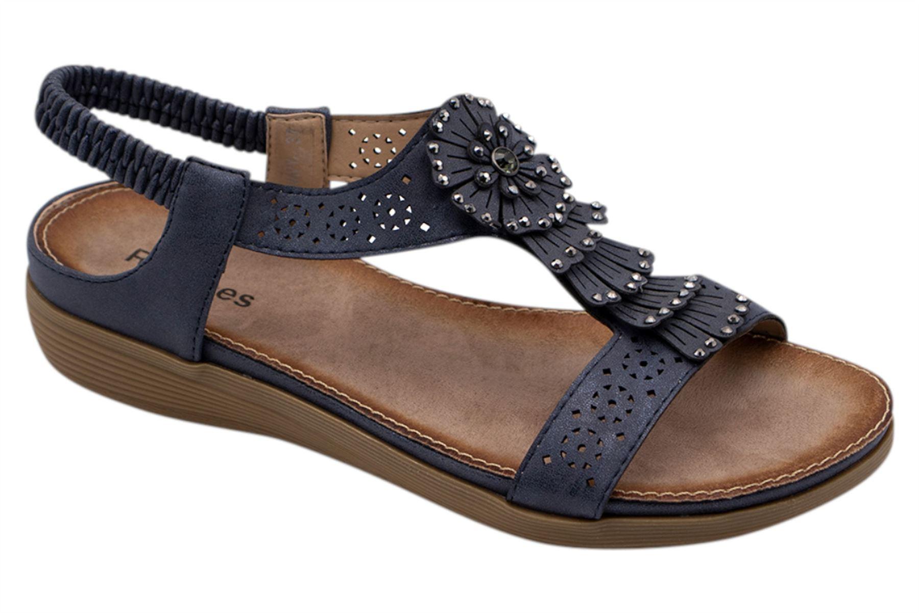 Ladies-Sandals-Womens-Shiny-Flat-Flip-Flop-Beach-Sliders miniatura 26