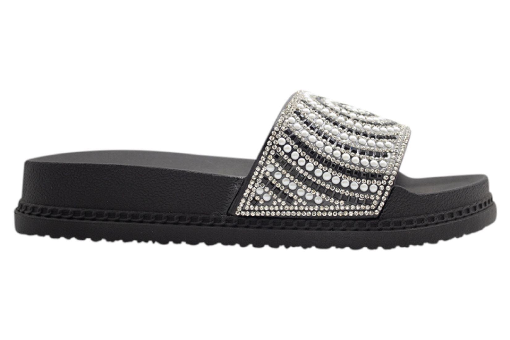 Womens-Sliders-Casual-Slippers-Mules-Ladies-Diamante-Flip-Flop-Sandals-Shoes thumbnail 18