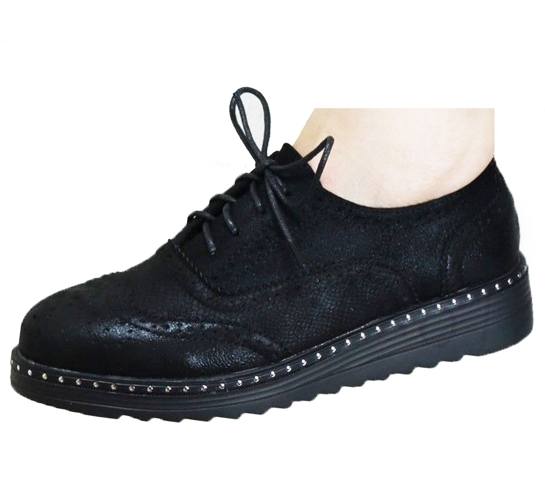 Ladies-Brogue-Lace-Up-Shoes-Womens-Oxford-Smart-Office-Loafers-Shoes miniatura 7