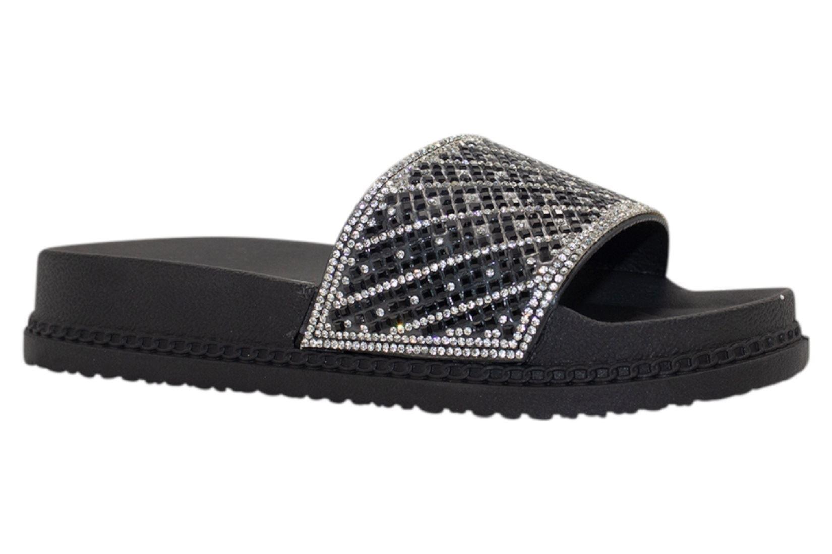 Womens-Sliders-Casual-Slippers-Mules-Ladies-Diamante-Flip-Flop-Sandals-Shoes thumbnail 59