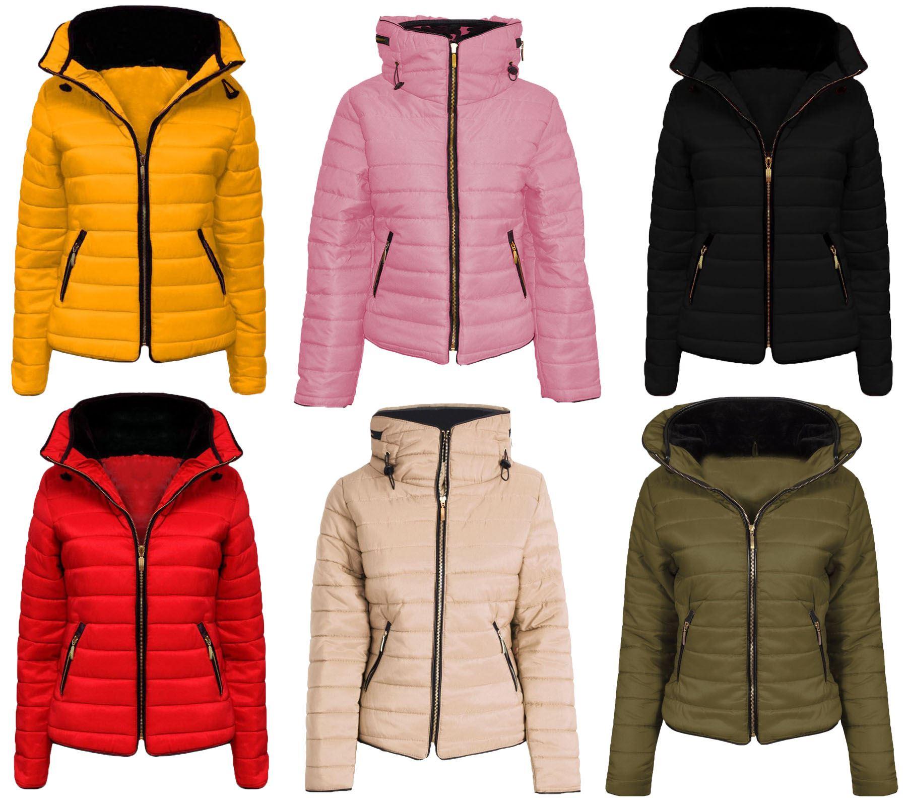 Ladies DONNE QUILTED Puffer BUBBLE IMBOTTITO PELLICCIA SINT con cappuccio caldo cappotto giacca spessa