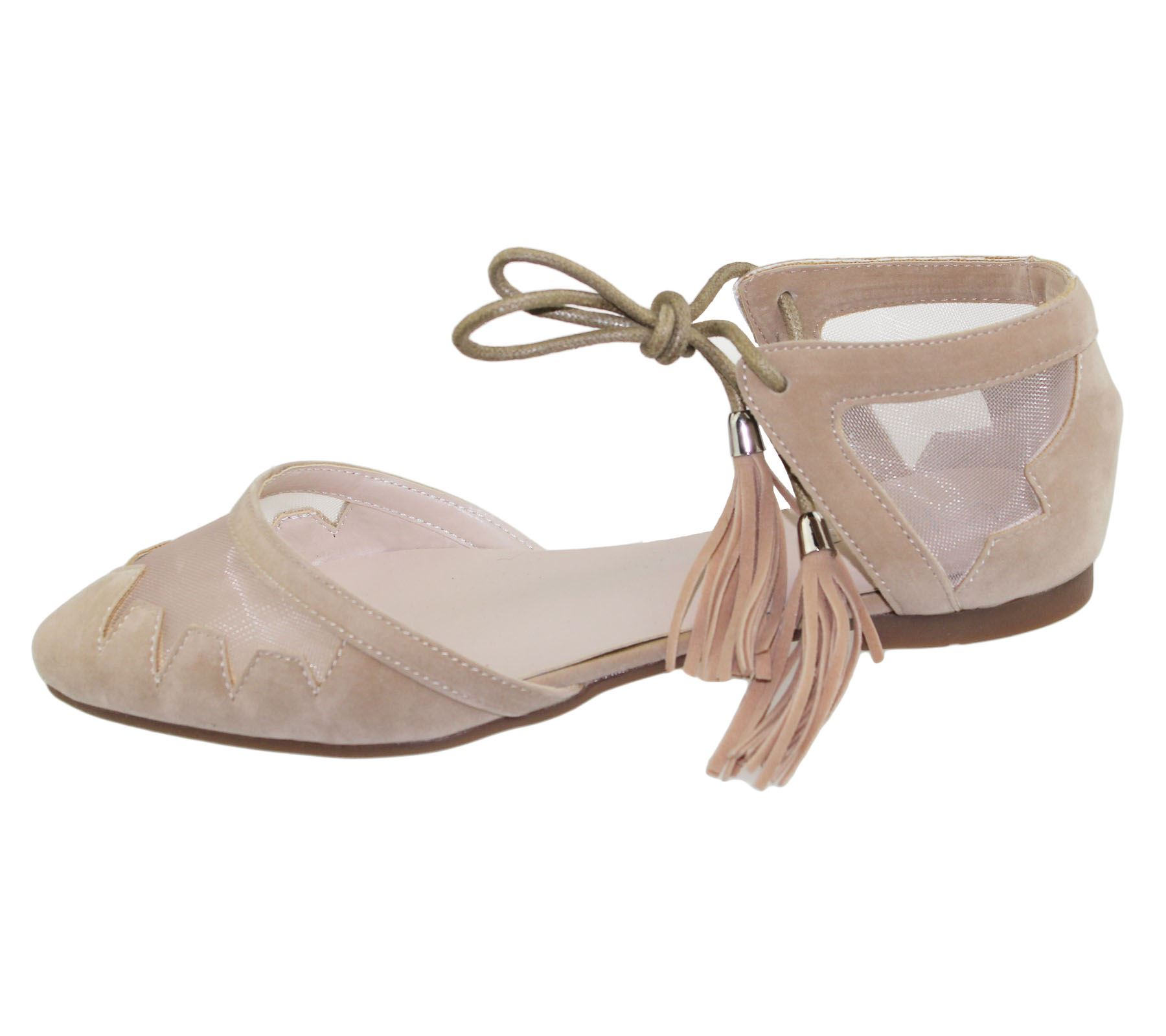 Womens-Flat-Ballerina-Dolly-Pumps-Ballet-Ladies-Summer-Mesh-Tassel-Shoes-Sandals thumbnail 13