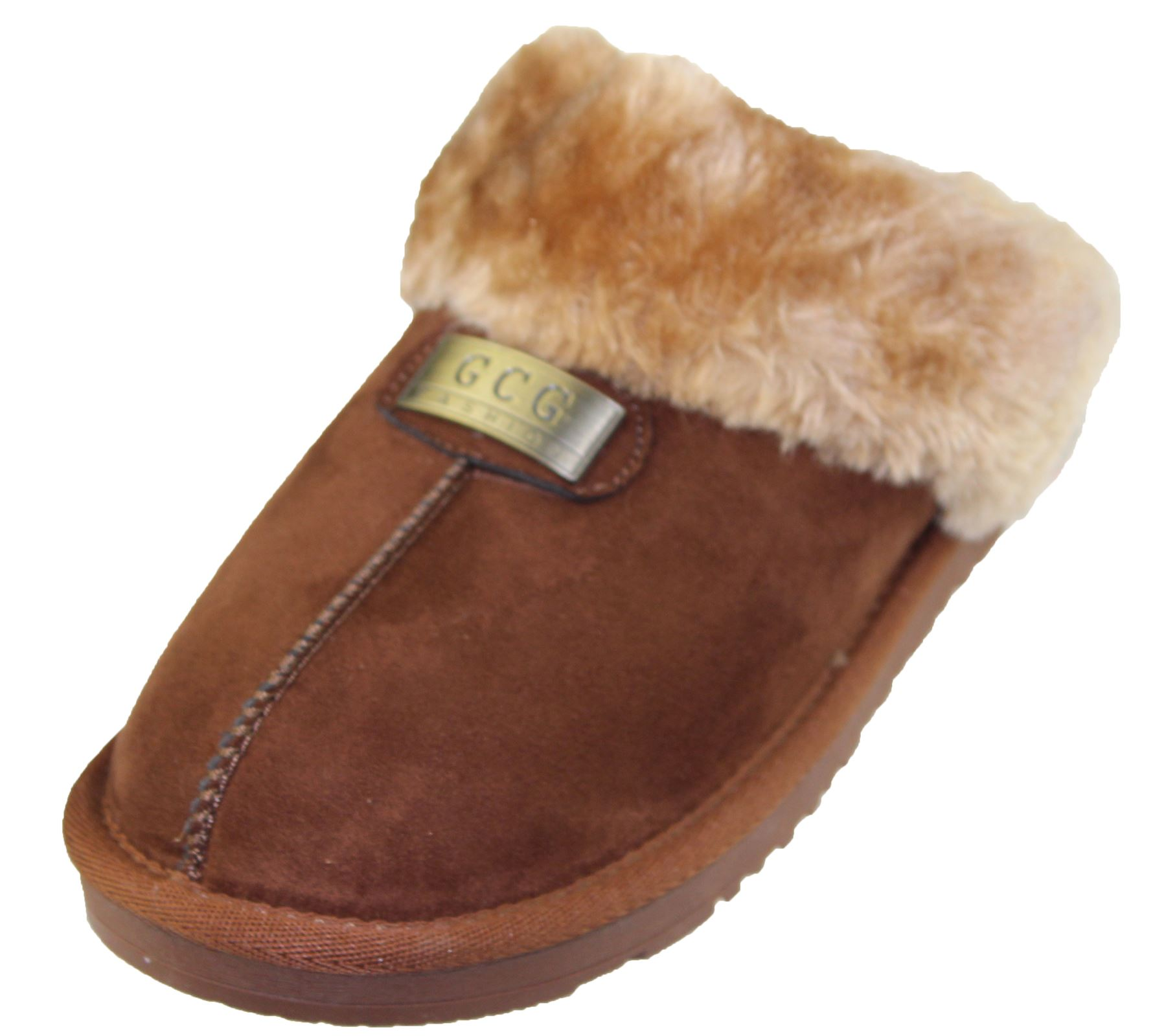 Womens-Fur-Lined-Slippers-Ladies-Mules-Non-Slip-Rubber-Sole-Shoes miniatura 14