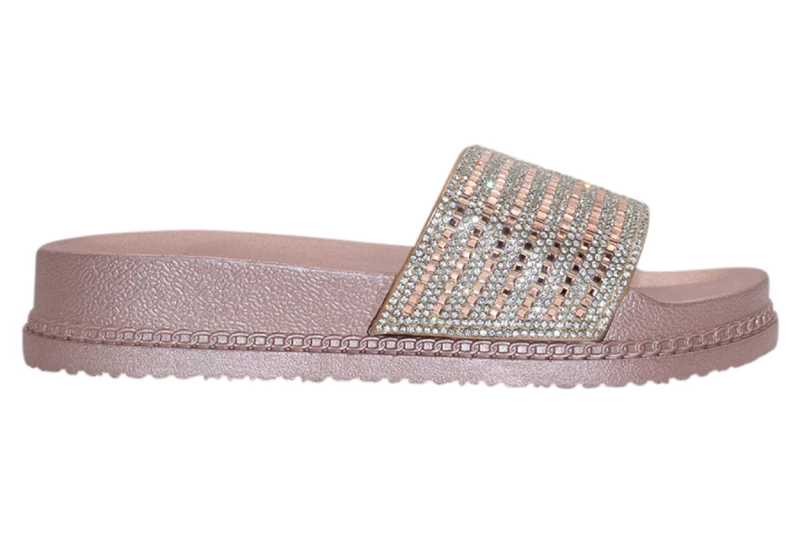 Womens-Sliders-Casual-Slippers-Mules-Ladies-Diamante-Flip-Flop-Sandals-Shoes thumbnail 31