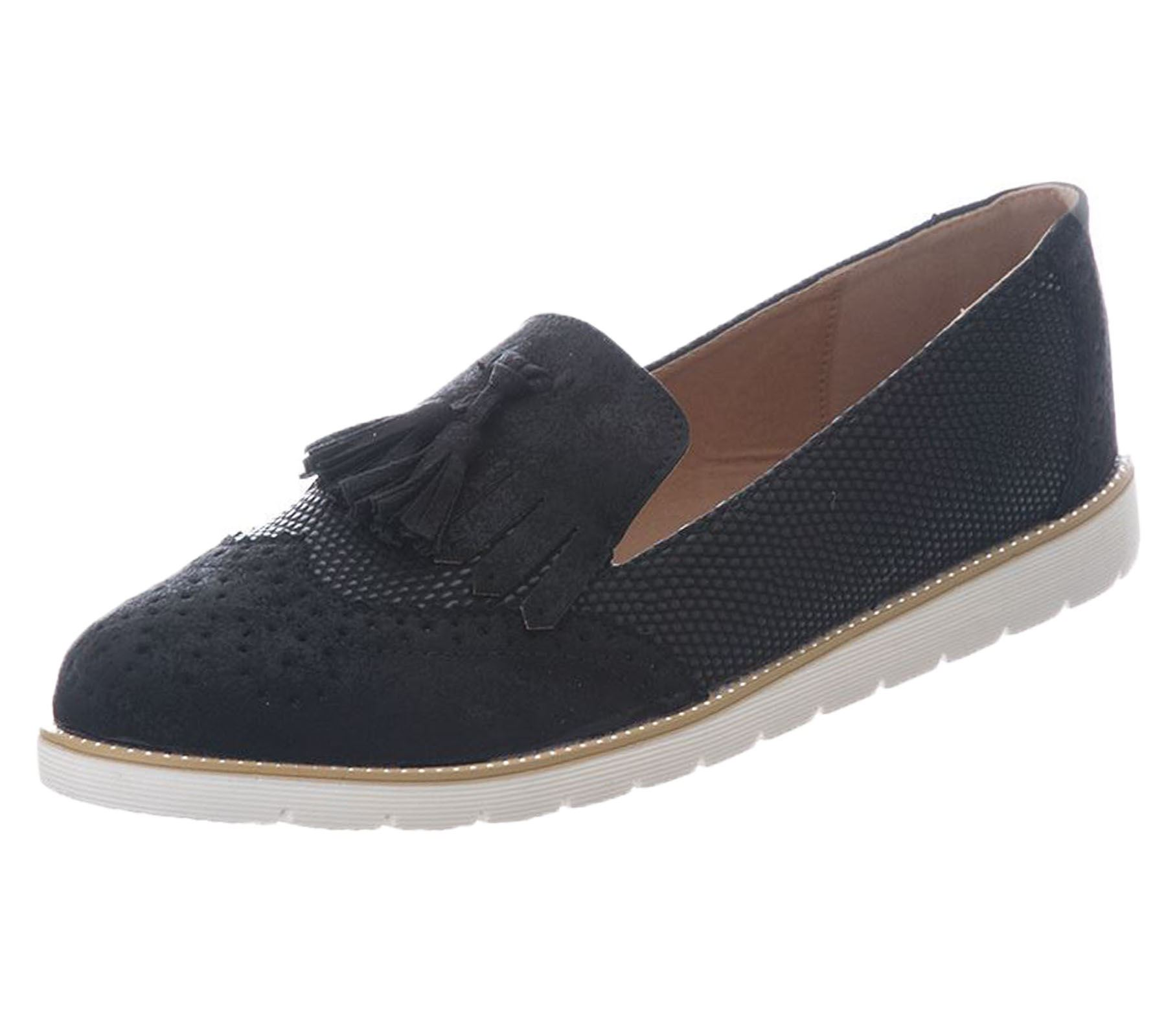 Ladies-Brogue-Slip-On-Tassel-Womens-Oxford-Smart-Office-Loafers-Shoes