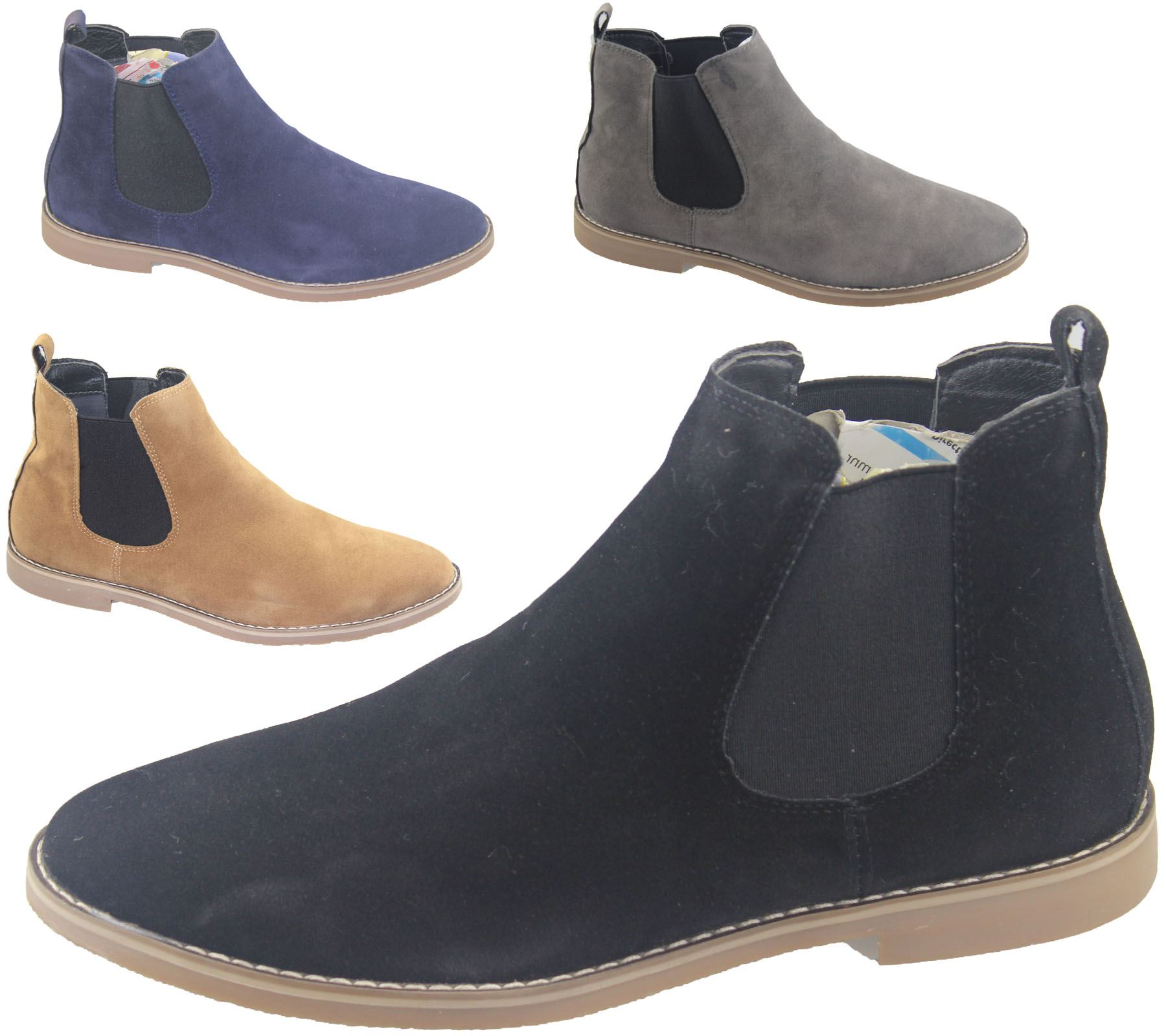 Mens Chelsea Boots Faux Suede Office