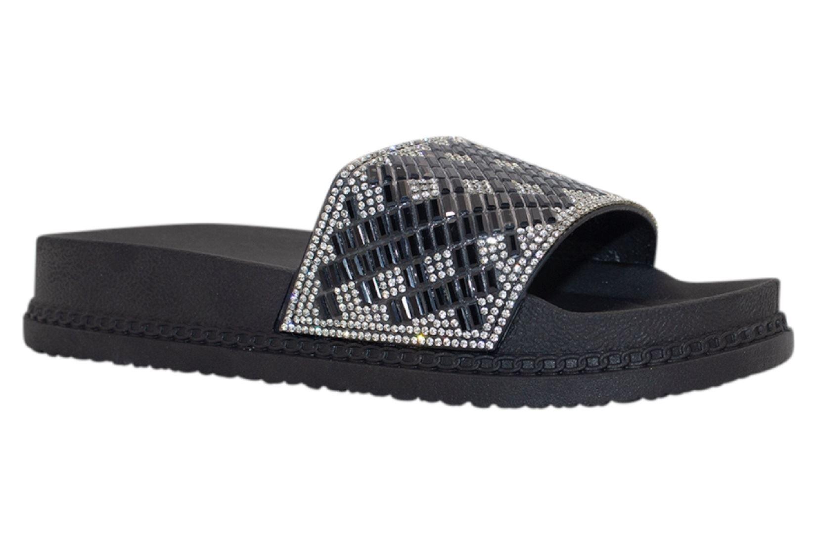 Womens-Sliders-Casual-Slippers-Mules-Ladies-Diamante-Flip-Flop-Sandals-Shoes thumbnail 94