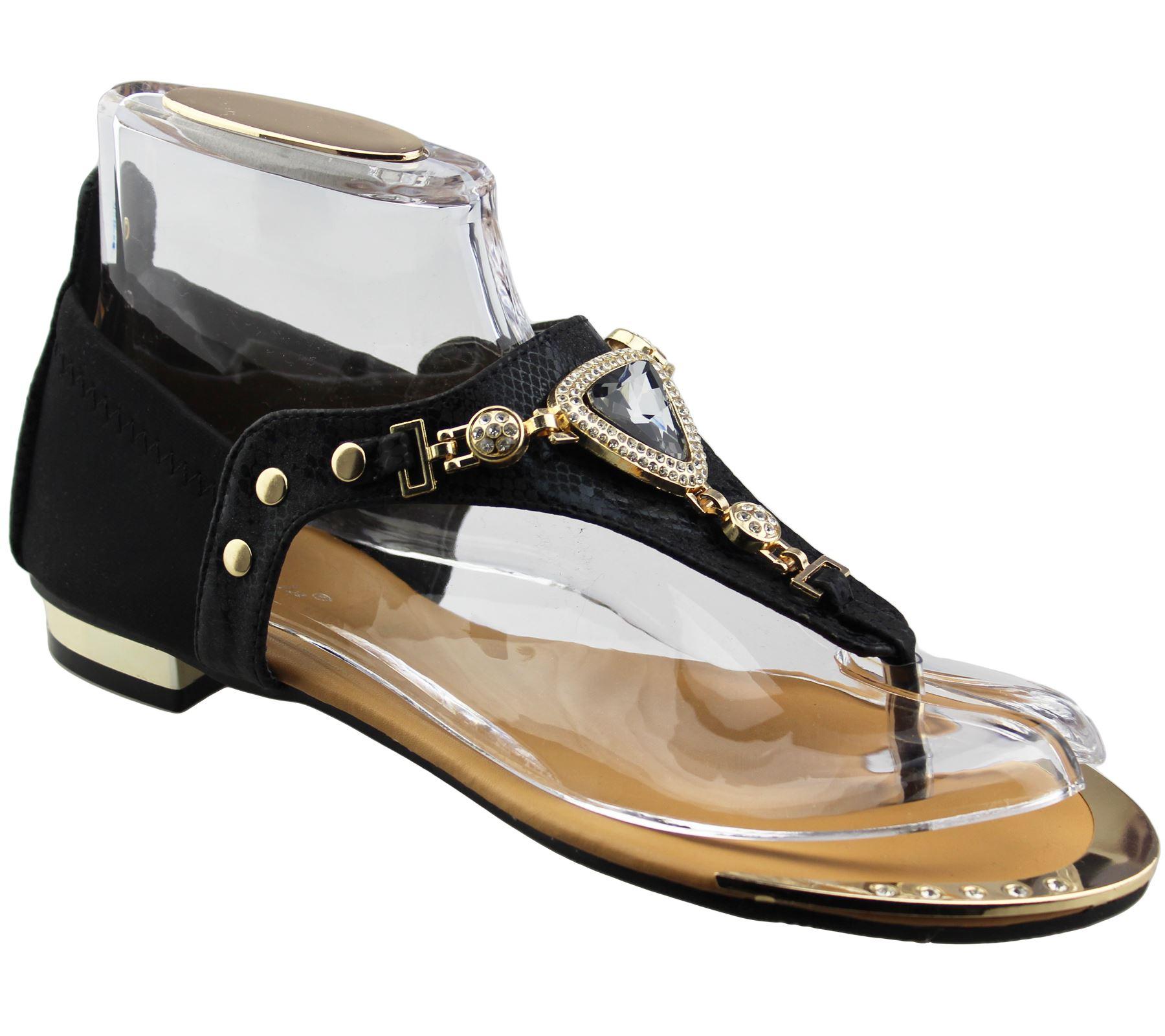 Womens-Flat-Summer-Sandals-Ladies-Diamante-Wedding-Toe-Post-Casual-Slipper thumbnail 3