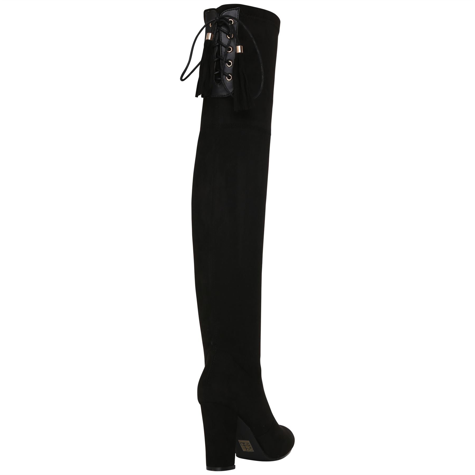 Womens-Over-Knee-High-Boots-Ladies-Low-Block-Heel-Riding-Stretch-Winter-Shoes miniatura 3