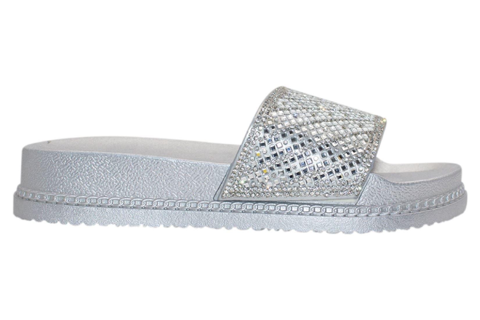 Womens-Sliders-Casual-Slippers-Mules-Ladies-Diamante-Flip-Flop-Sandals-Shoes thumbnail 57