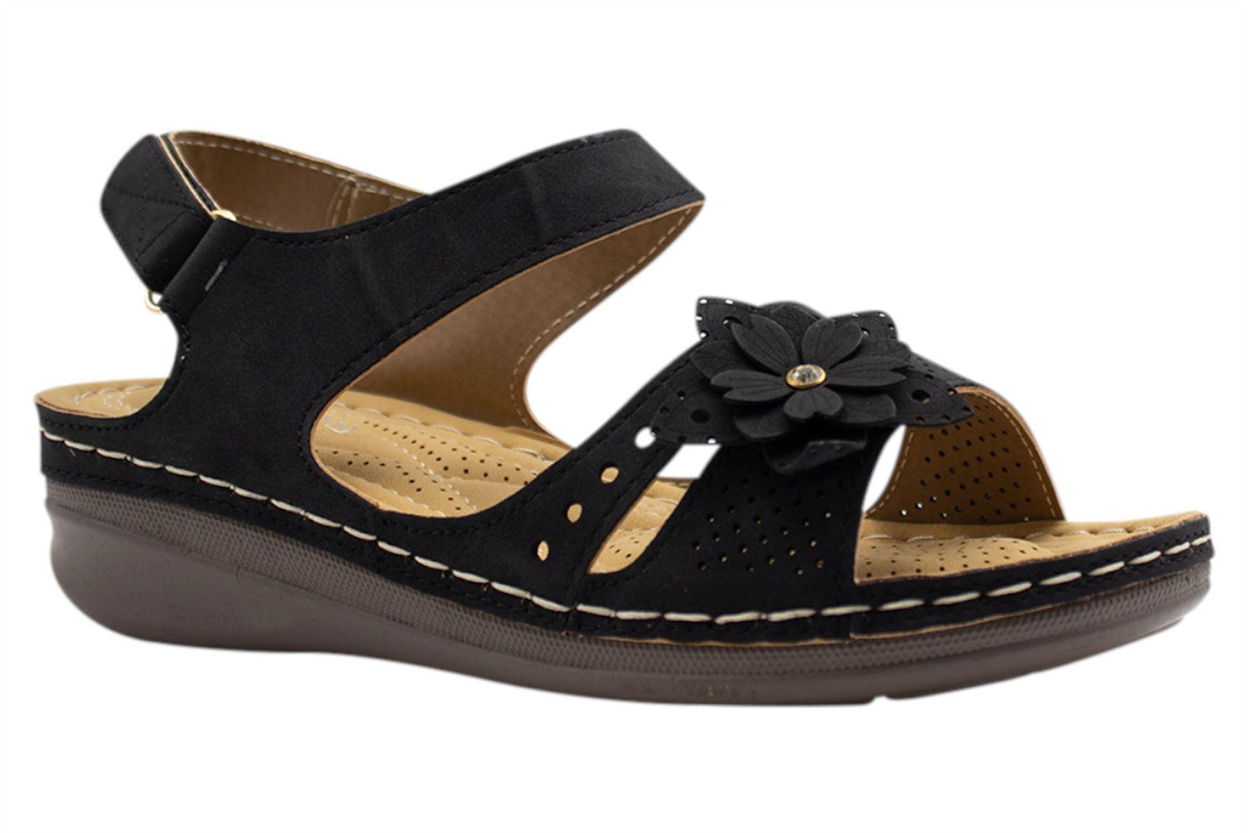 Ladies-Wedge-Heel-Sandal-Womens-Comfort-Cushion-Strapy-Summer-Shoes miniatura 14