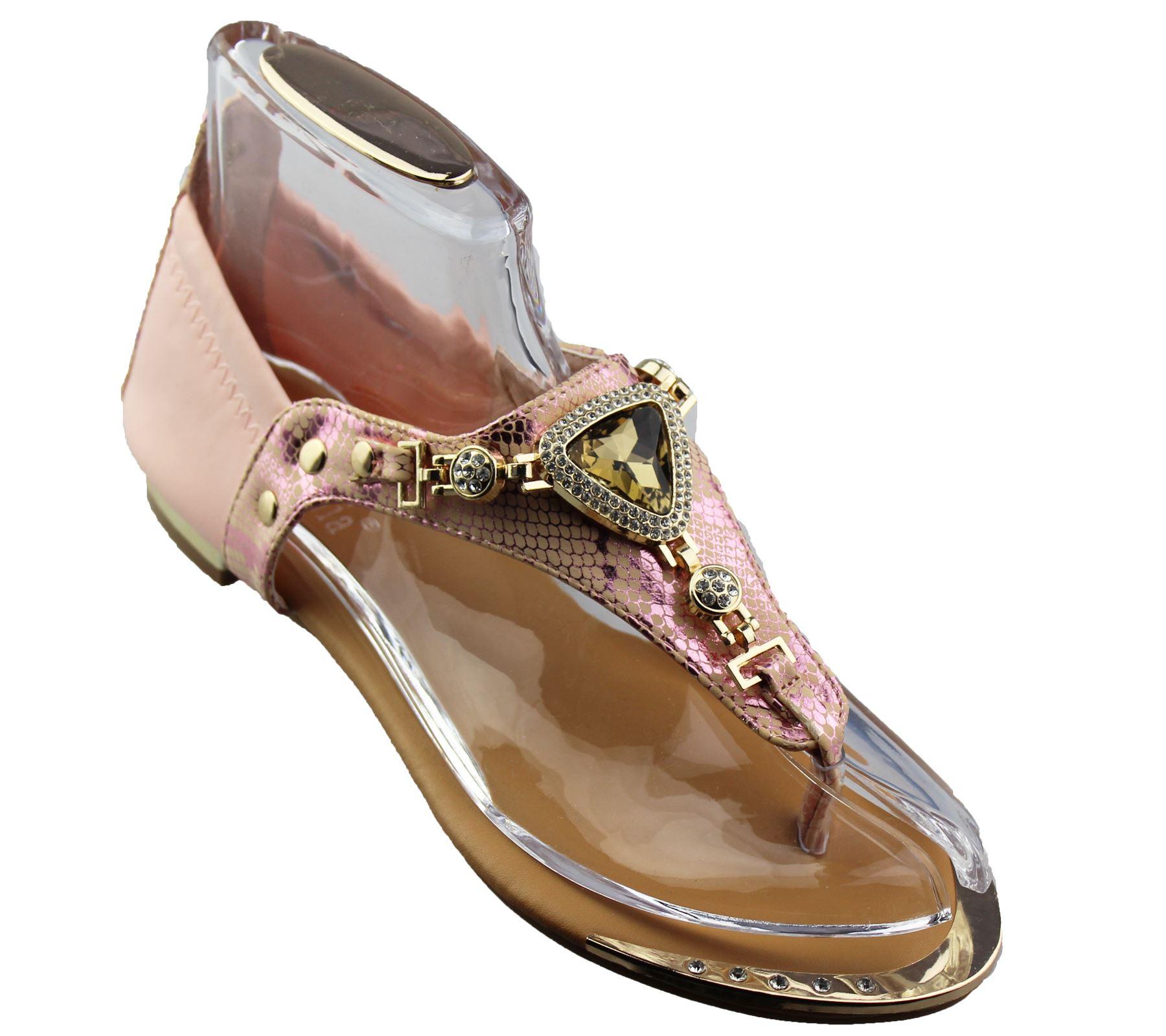 Womens-Flat-Summer-Sandals-Ladies-Diamante-Wedding-Toe-Post-Casual-Slipper thumbnail 35
