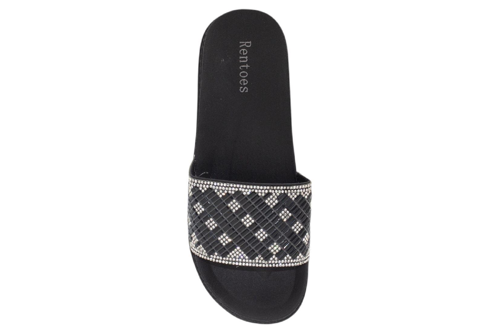 Womens-Sliders-Casual-Slippers-Mules-Ladies-Diamante-Flip-Flop-Sandals-Shoes thumbnail 95