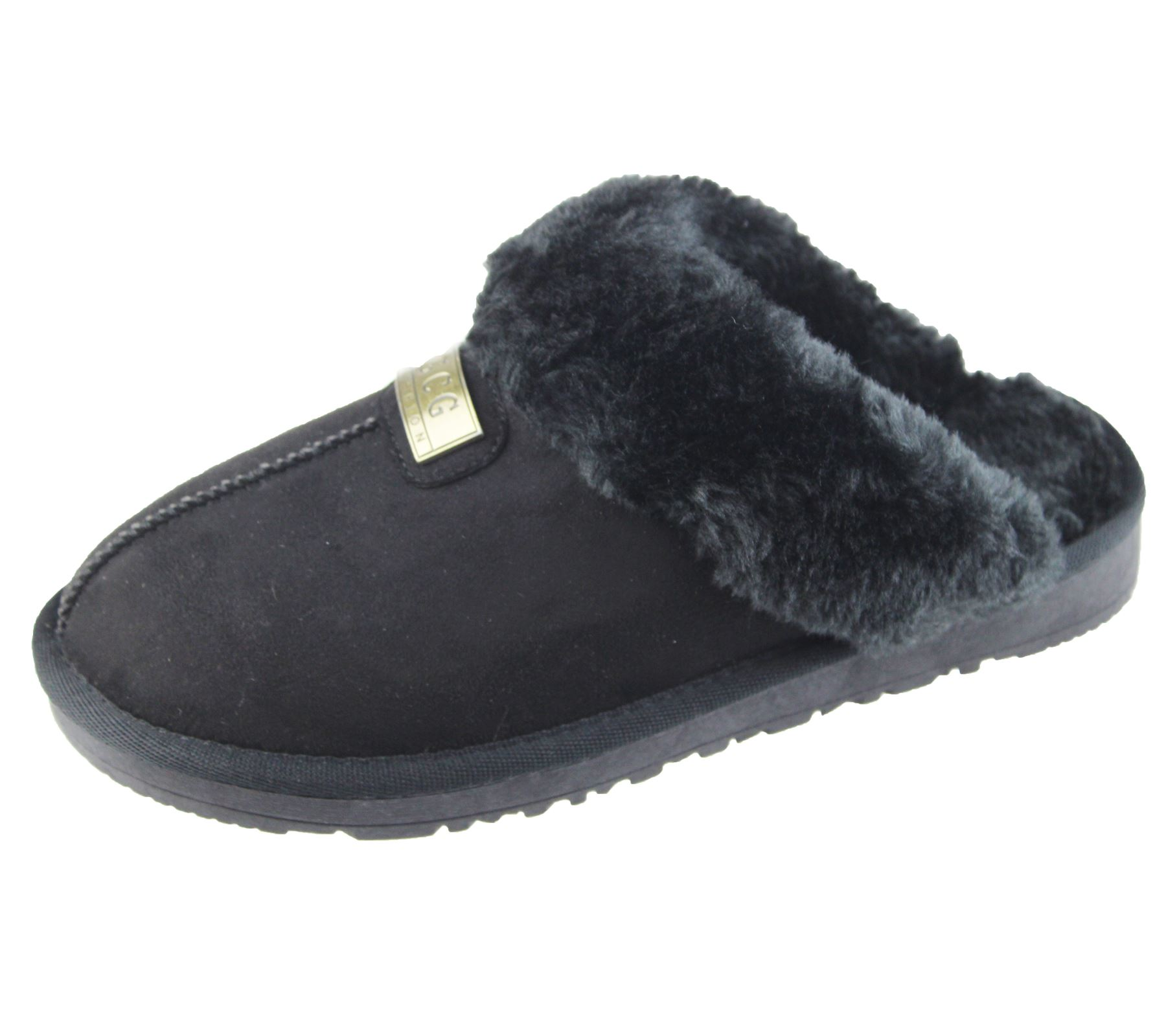 Womens Fur Lined Slippers Ladies Mules Non Slip Rubber Sole Black Size UK 6 42f108bbc0e9