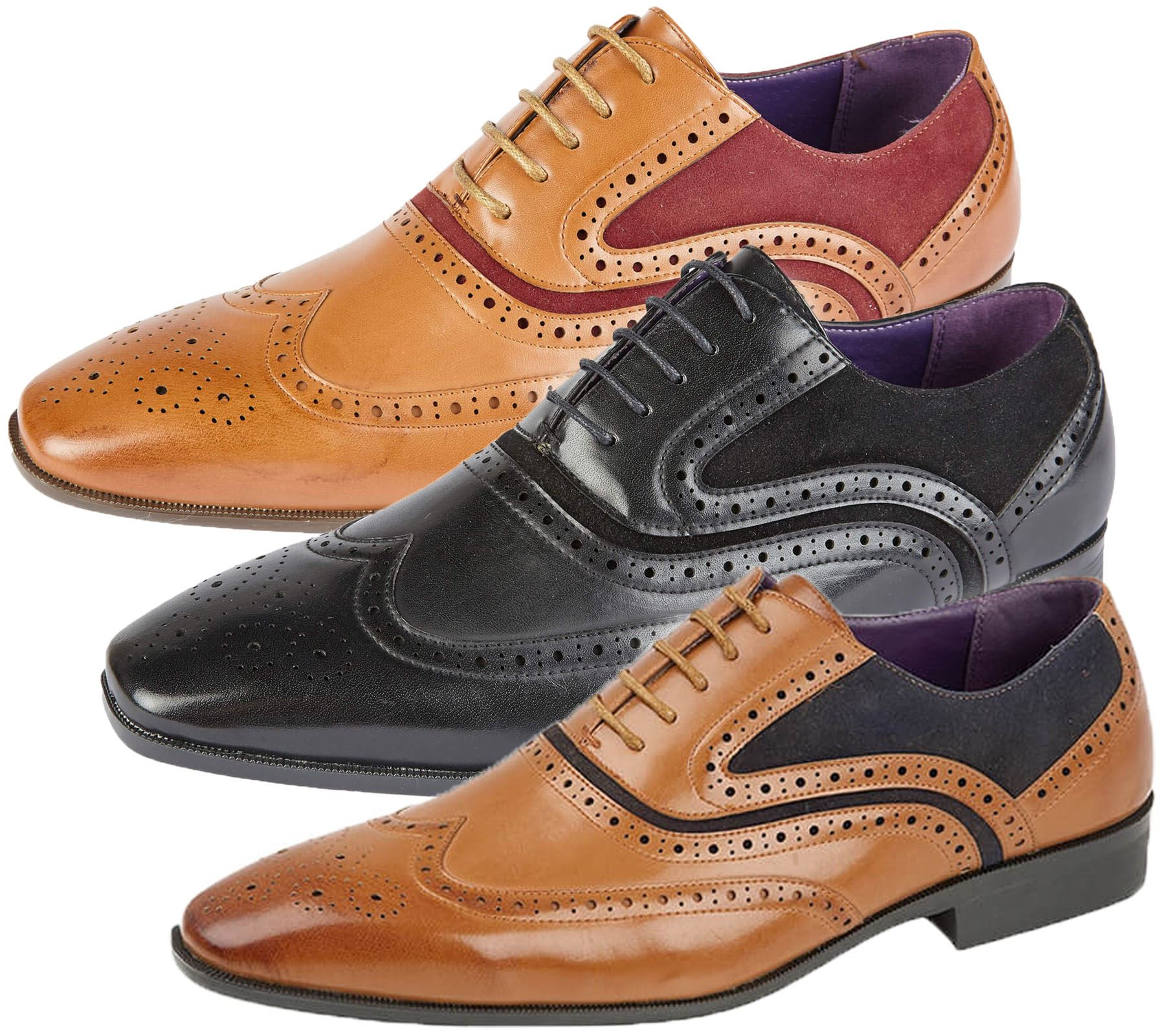 Mens Leather Wedding Smart Brogue Dress Formal Office Lace up Tan Shoes Size