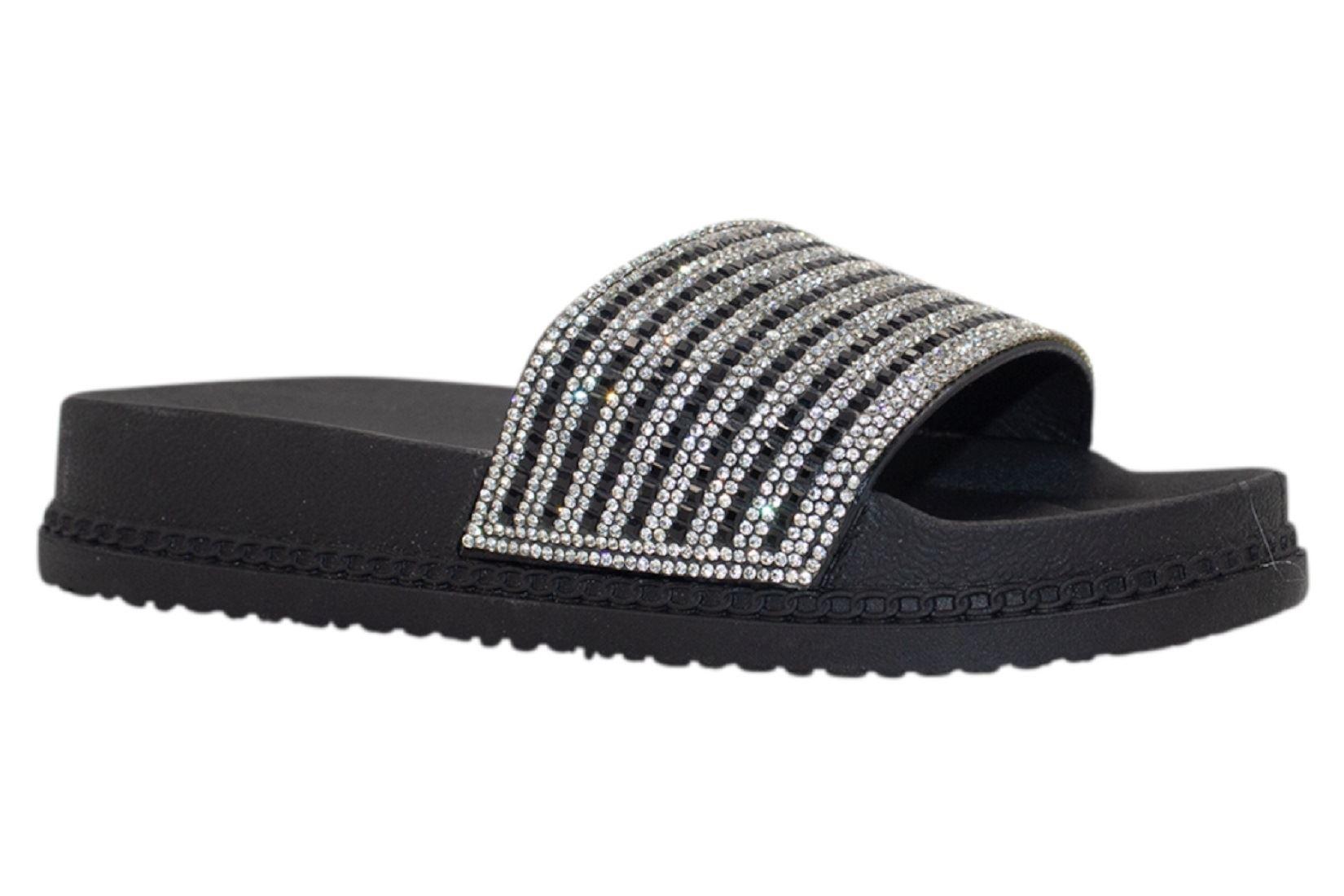 Womens-Sliders-Casual-Slippers-Mules-Ladies-Diamante-Flip-Flop-Sandals-Shoes thumbnail 33