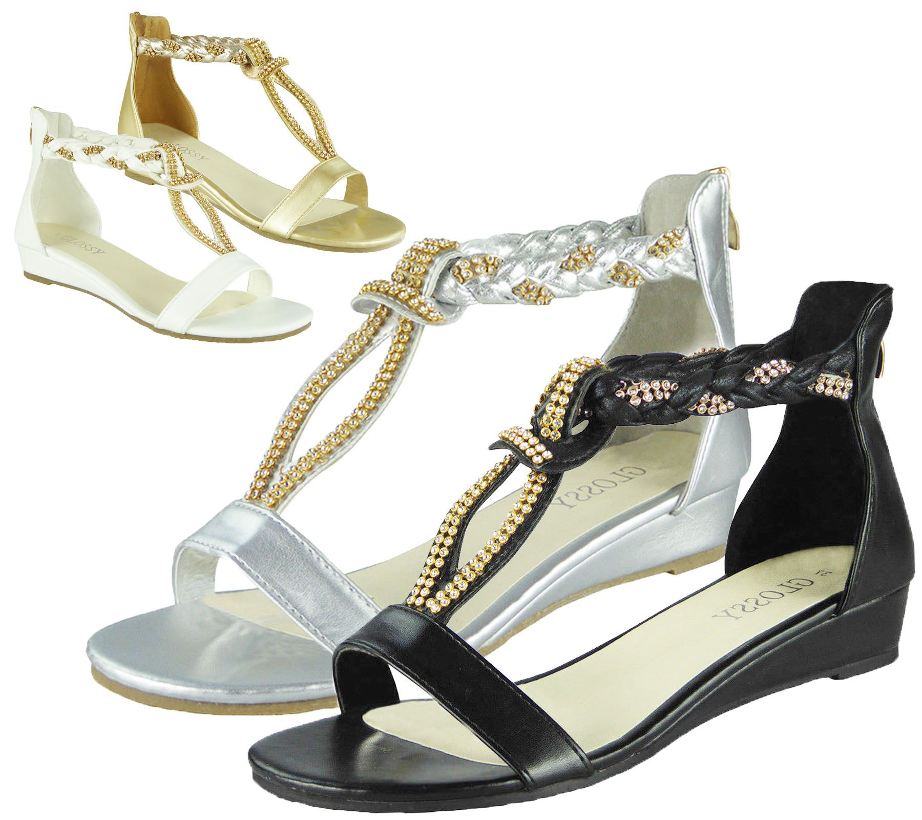 Details about Ladies Sandals Low Wedge Diamante Summer Womens Wedding Fancy Shoes