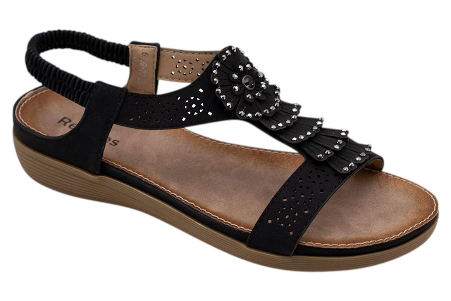 Ladies-Sandals-Womens-Shiny-Flat-Flip-Flop-Beach-Sliders miniatura 14