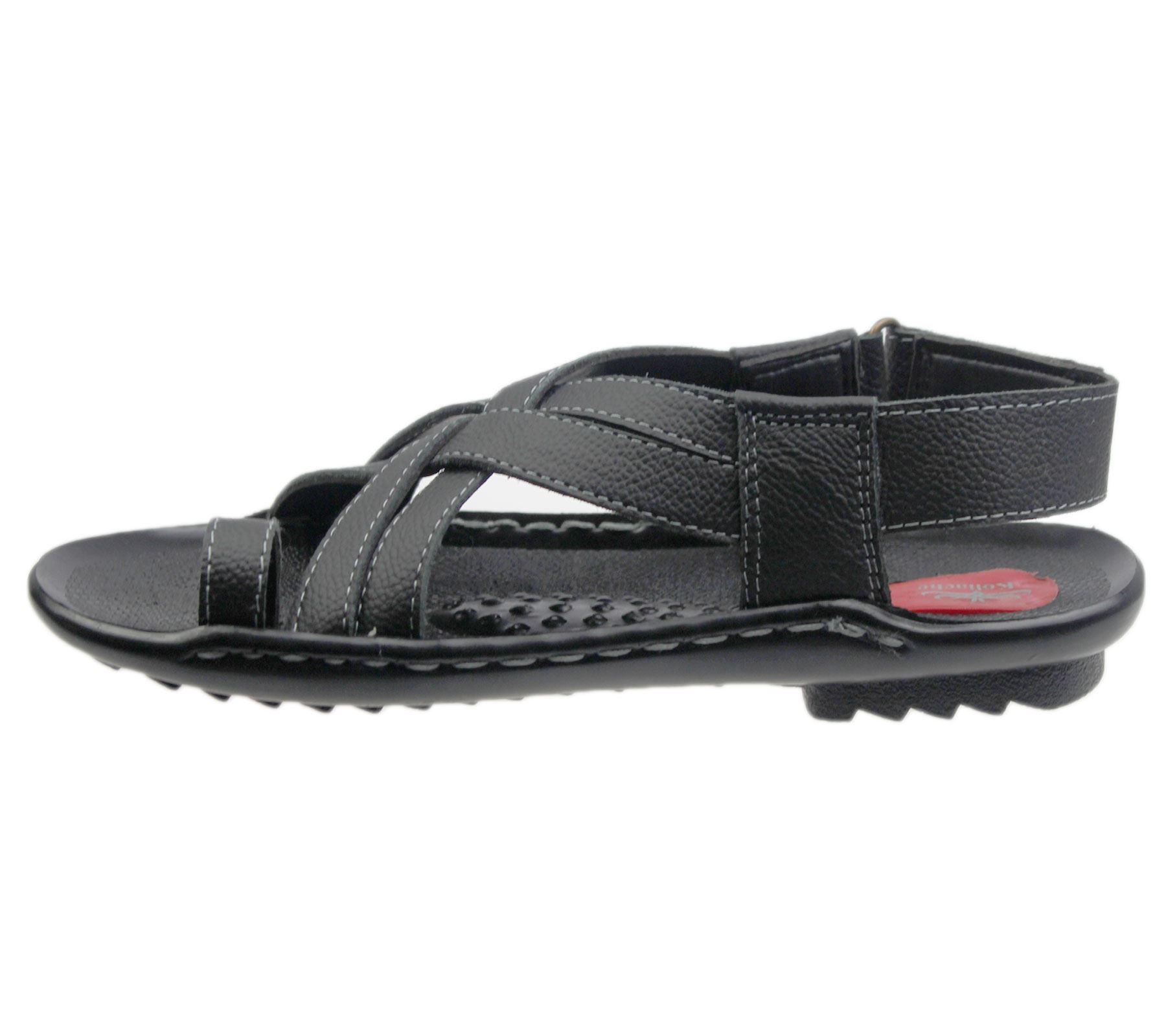 Mens Flat Sandal Casual Beach Walking Fashion Leather Slipper Flip Flop Size