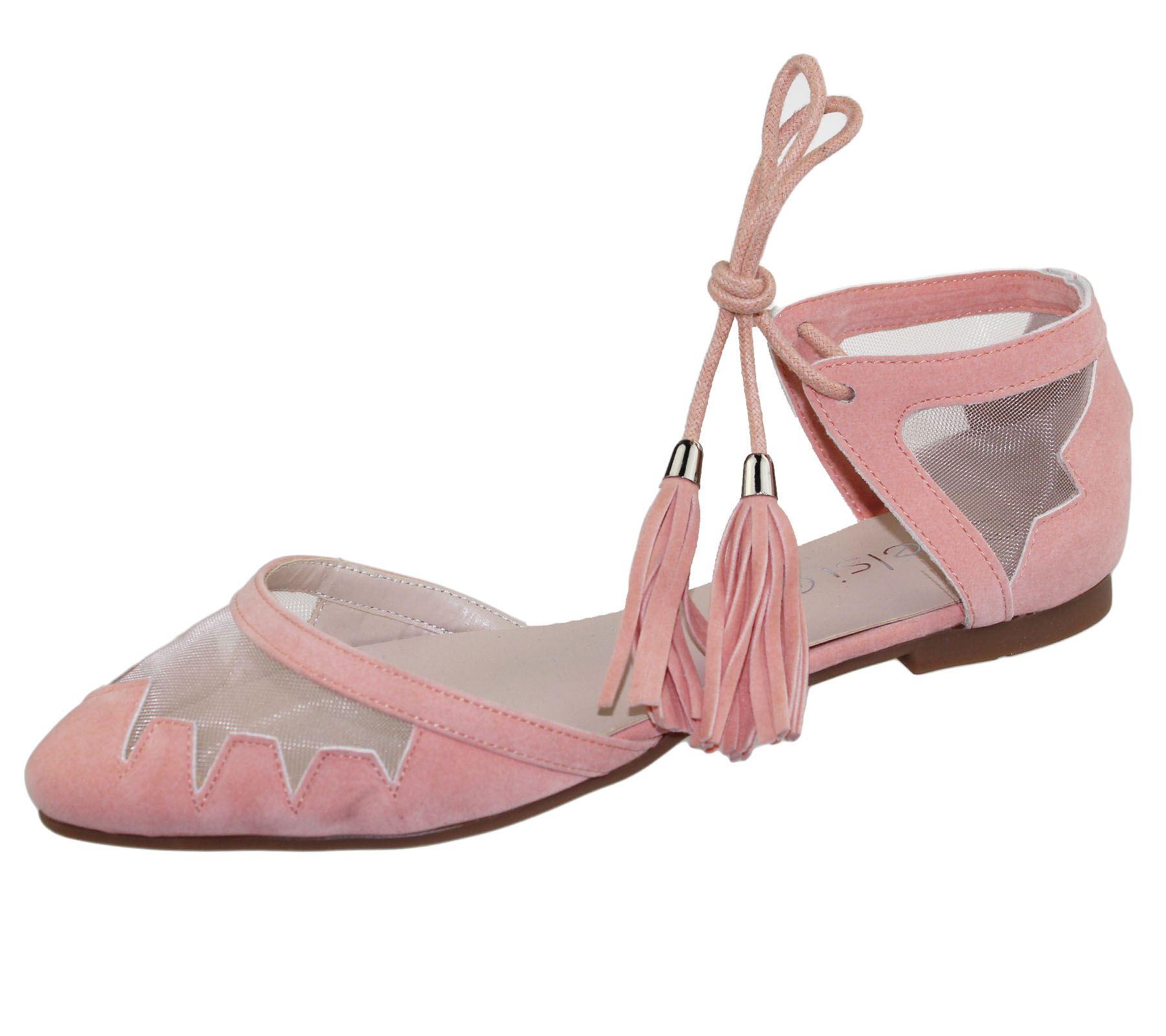 Womens-Flat-Ballerina-Dolly-Pumps-Ballet-Ladies-Summer-Mesh-Tassel-Shoes-Sandals thumbnail 29
